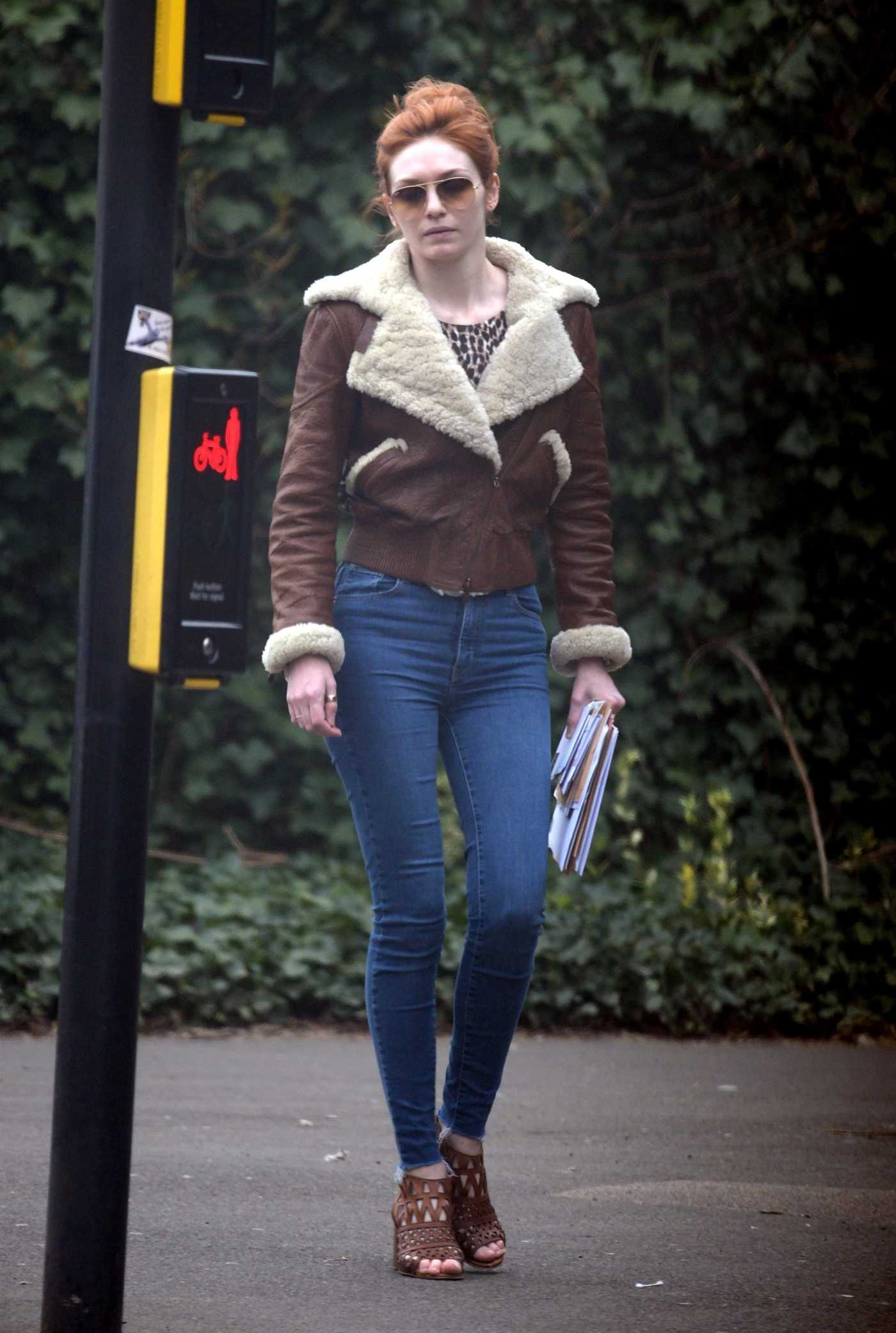 Eleanor Tomlinson in a Blue Jeans Was Seen Out in London 04/08/2019