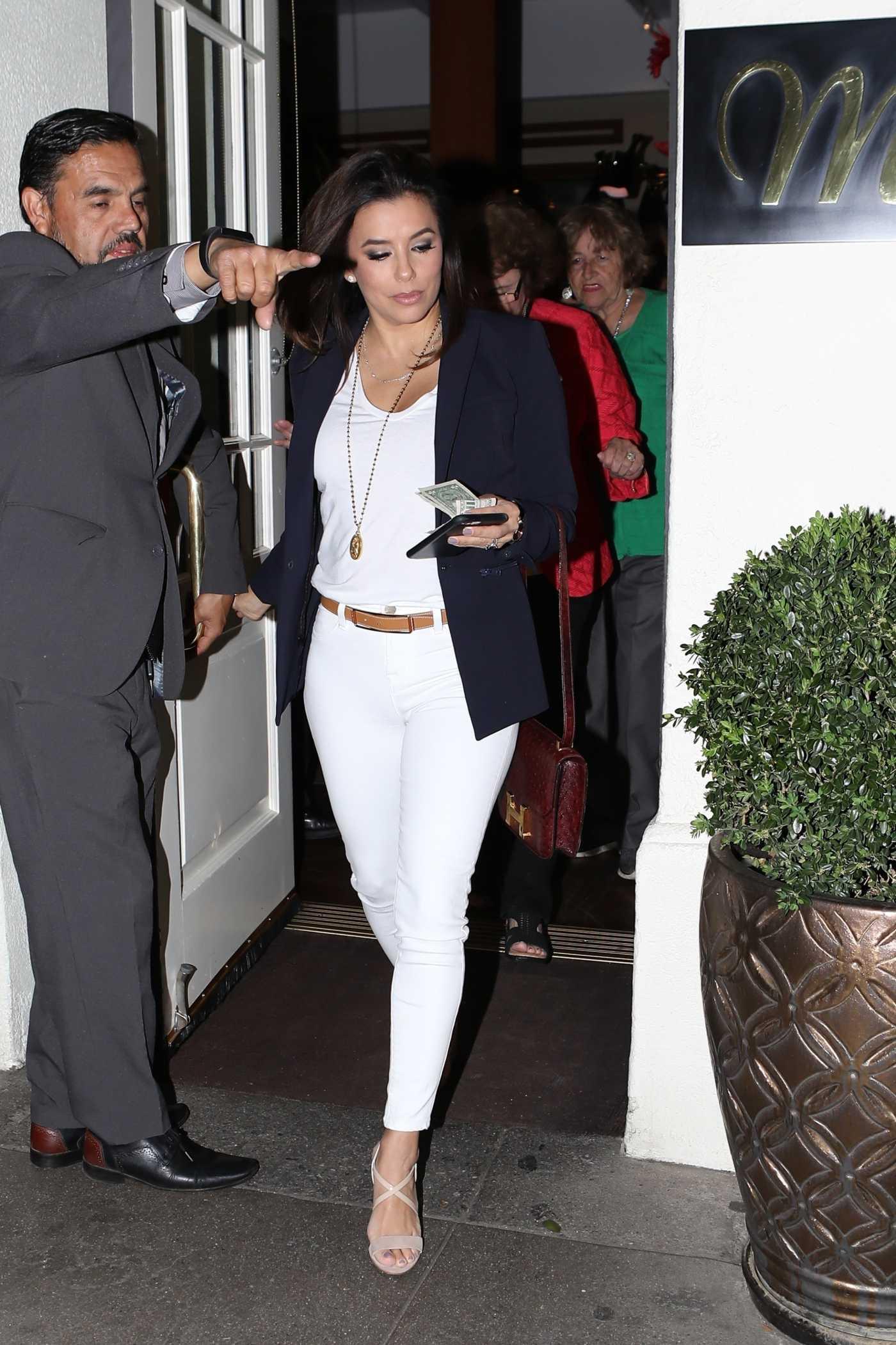 Eva Longoria in a White Jeans Leaves Madeo Italian Restaurant in Beverly Hills 04/11/2019
