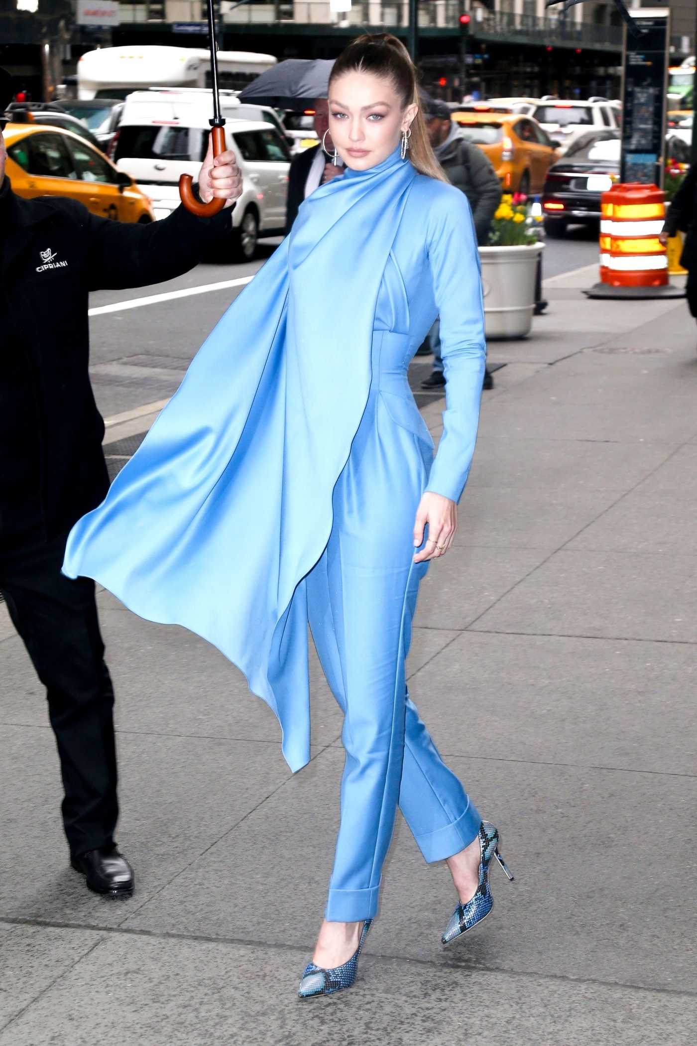 Gigi Hadid in a Blue Overalls Leaves 2019 Variety's Power of Women in NYC 04/05/2019