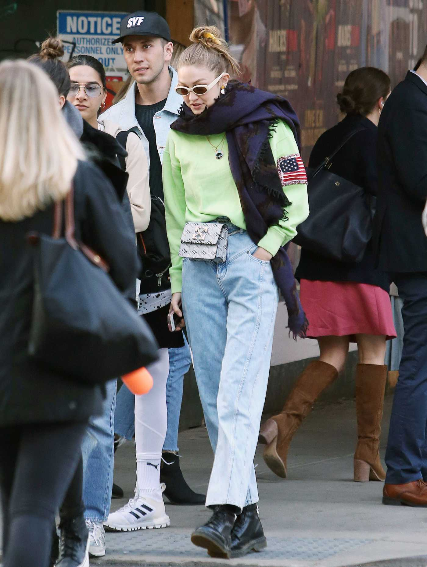 Gigi Hadid in a Light Green Sweatshirt Was Seen  Out with a Friend in NYC 04/17/2019