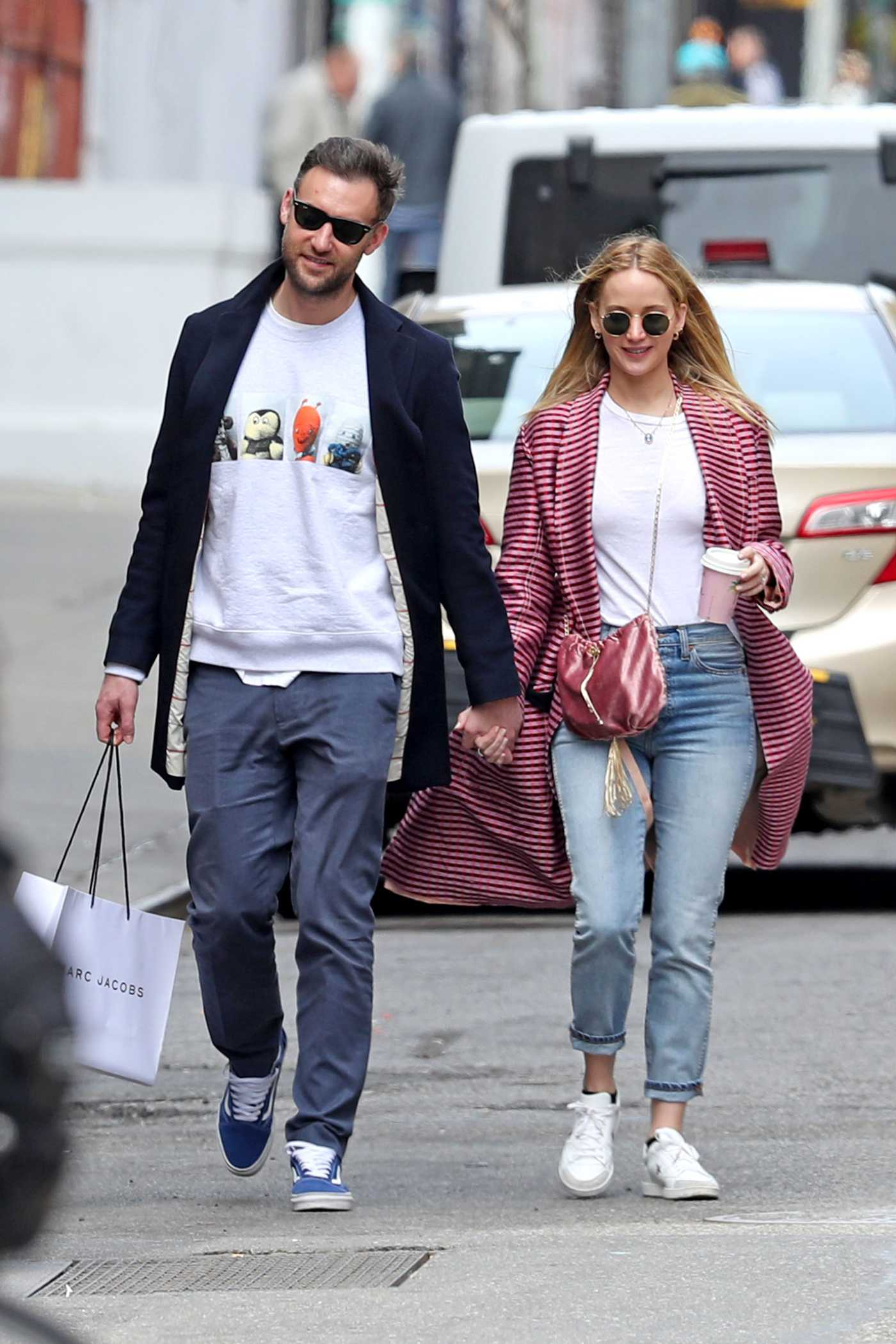 Jennifer Lawrence in a Pink Striped Cardigan Was Seen Out with Cooke Maroney in NYC 04/29/2019