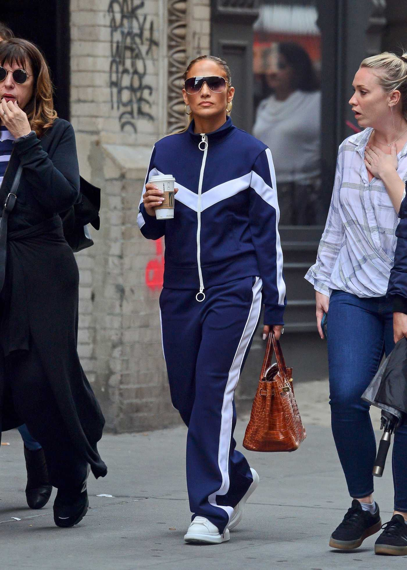 Jennifer Lopez in a Blue Tracksuit Was Seen Out in New York City 04/14/2019