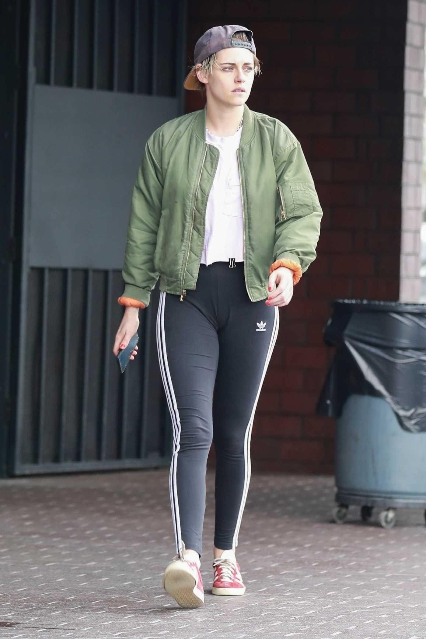 Kristen Stewart in a Green Bomber Jacket Leaves a Nail Salon in Hollywood 04/29/2019