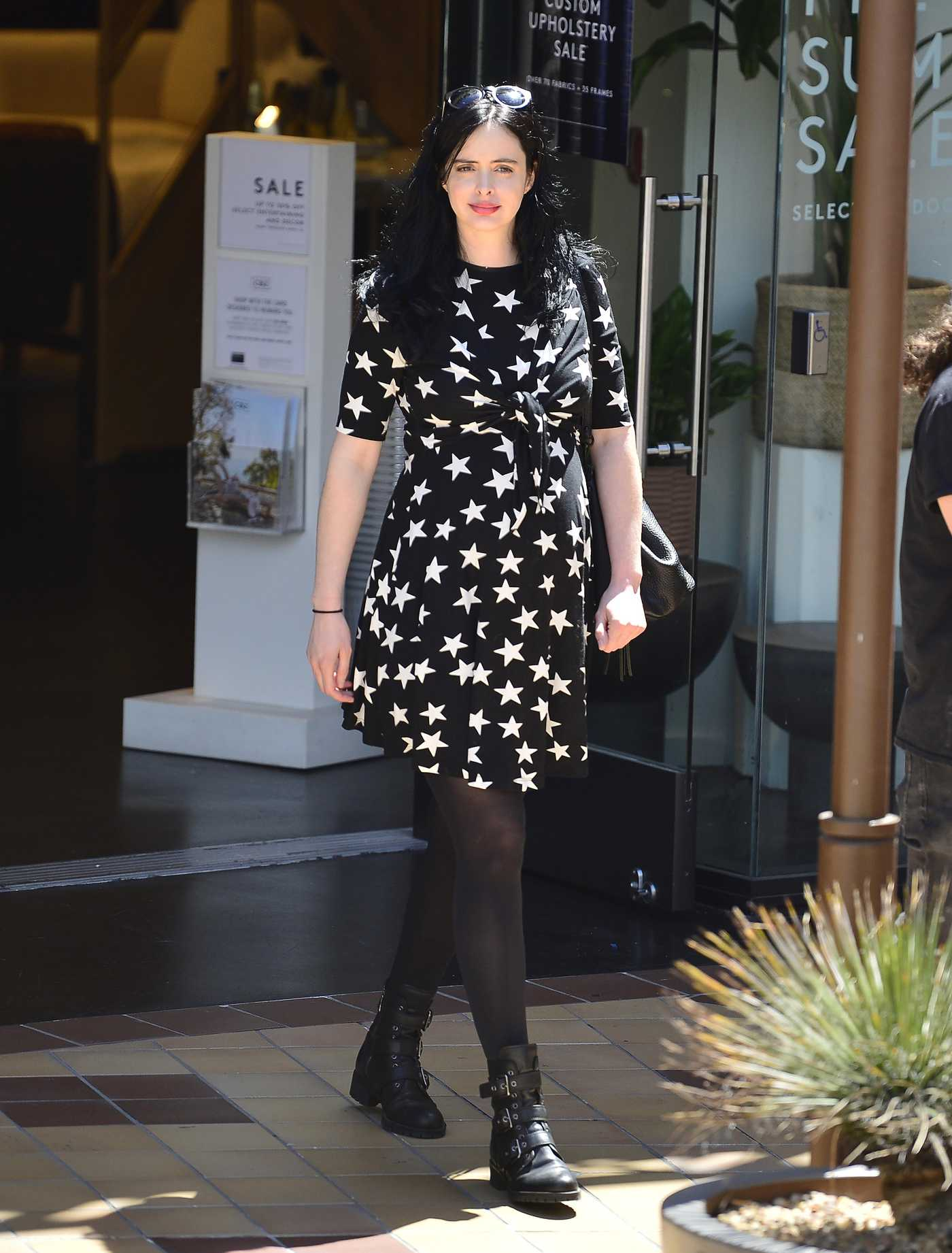 Krysten Ritter in a Black Dress Out Shopping in Los Angeles 04/23/2019