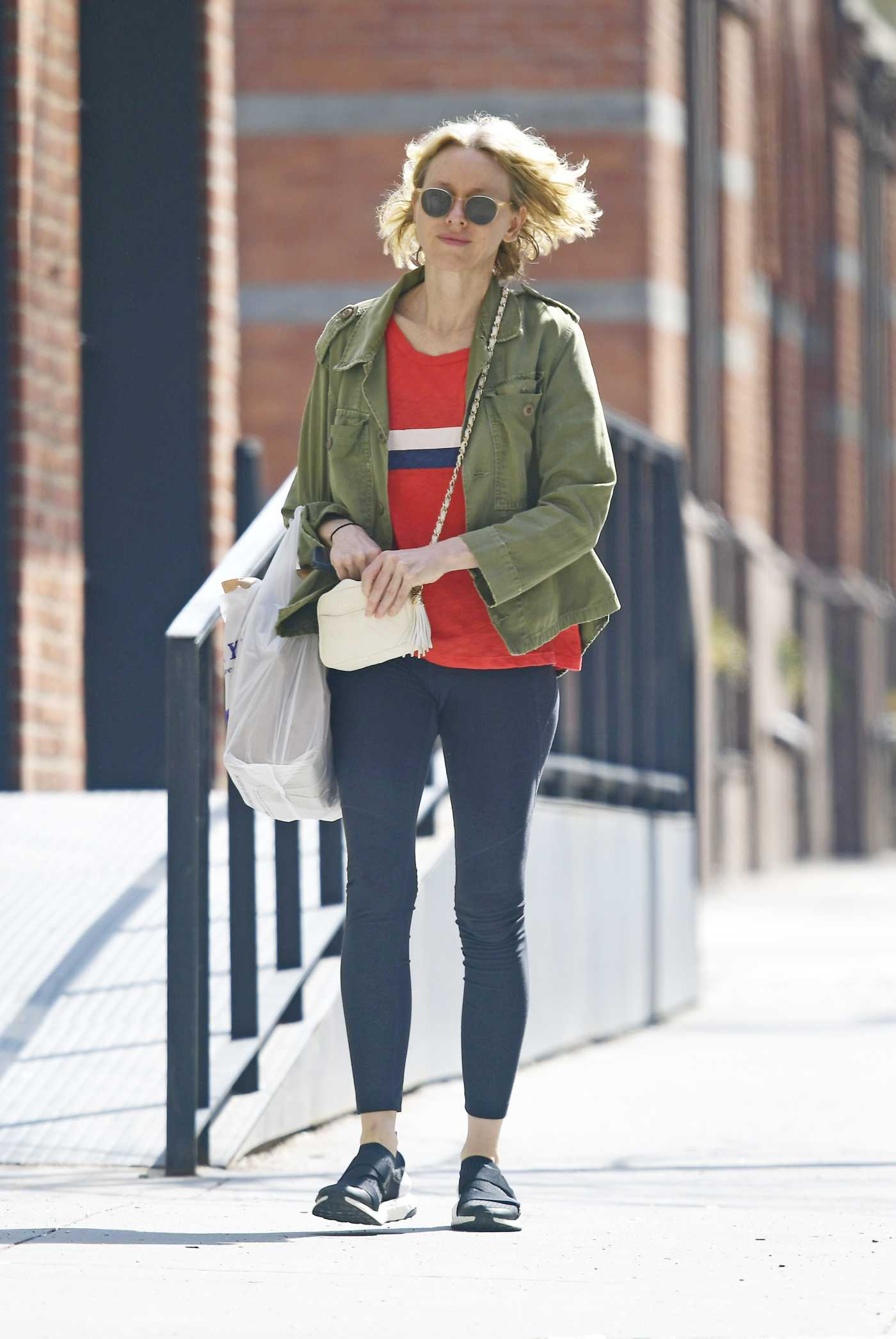 Naomi Watts in a Black Leggings Was Seen Out in New York 04/14/2019