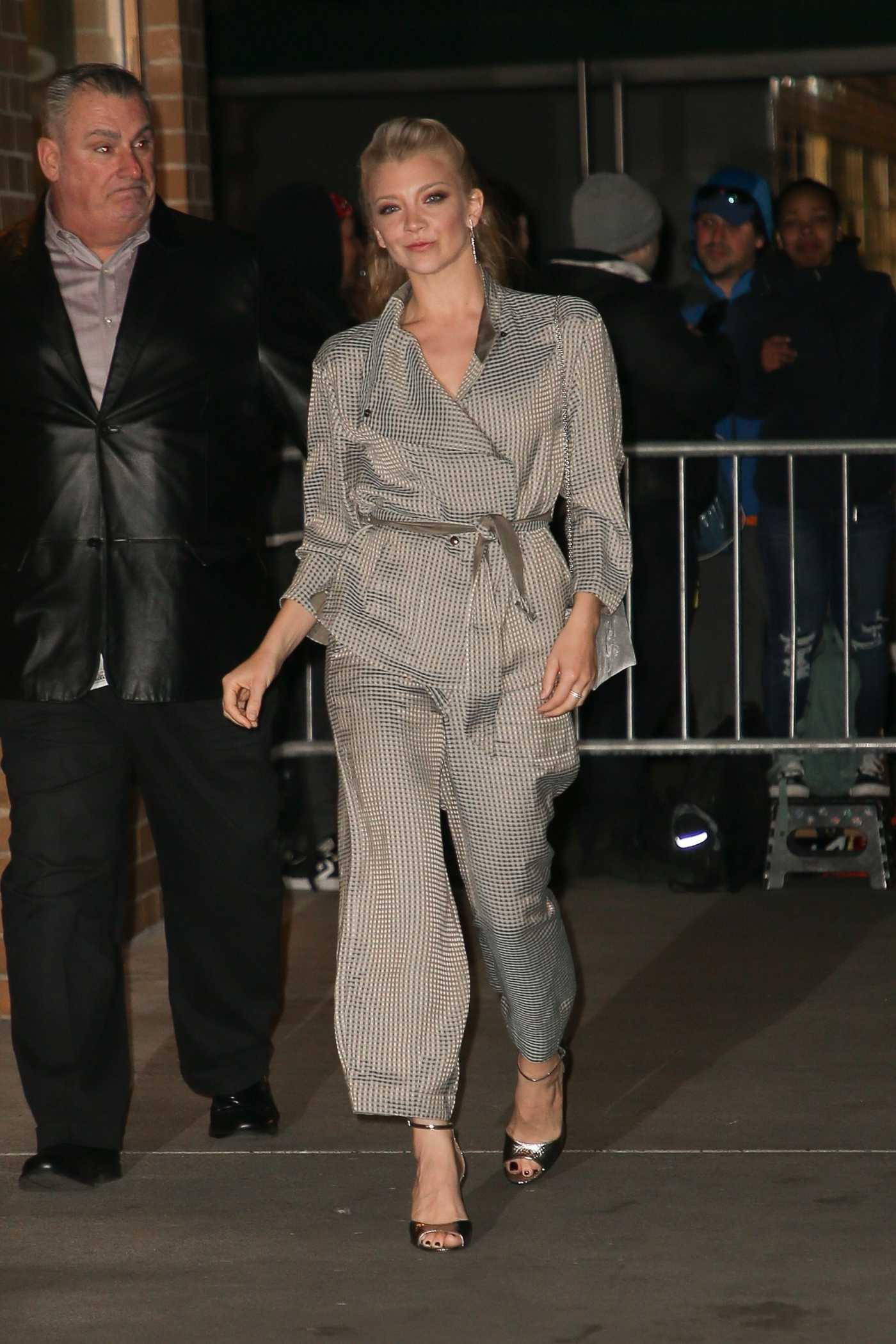 Natalie Dormer in a Silver Suit Arrives at Marea Restaurant in NYC 04/01/2019