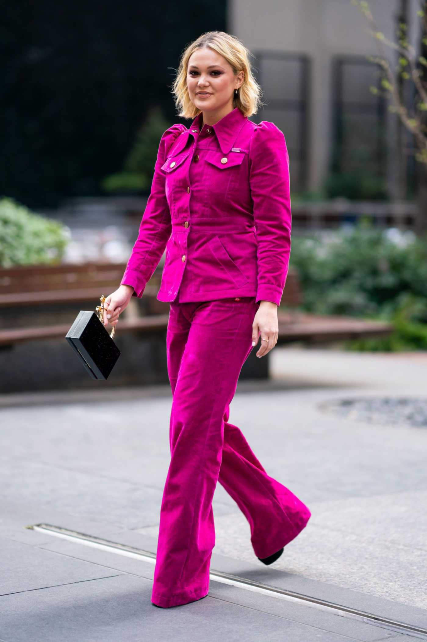 Olivia Holt in a Pink Suit Was Seen Out in Midtown in NYC 04/02/2019