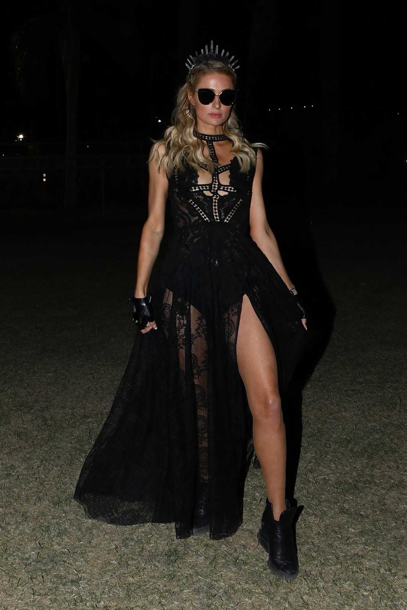 Paris Hilton in a Black Dress Night Out at the Coachella Valley Music and Arts Festival in Indio 04/14/2019