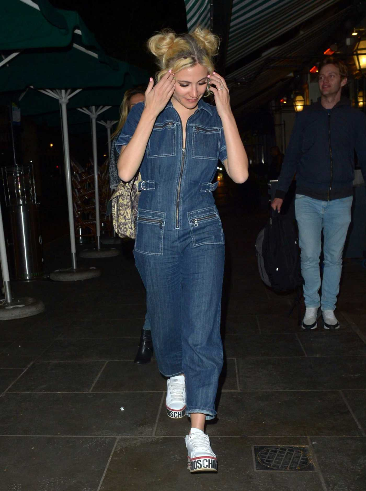 Pixie Lott in a Denim Overalls Leaves Harry's Bar in London 04/09/2019