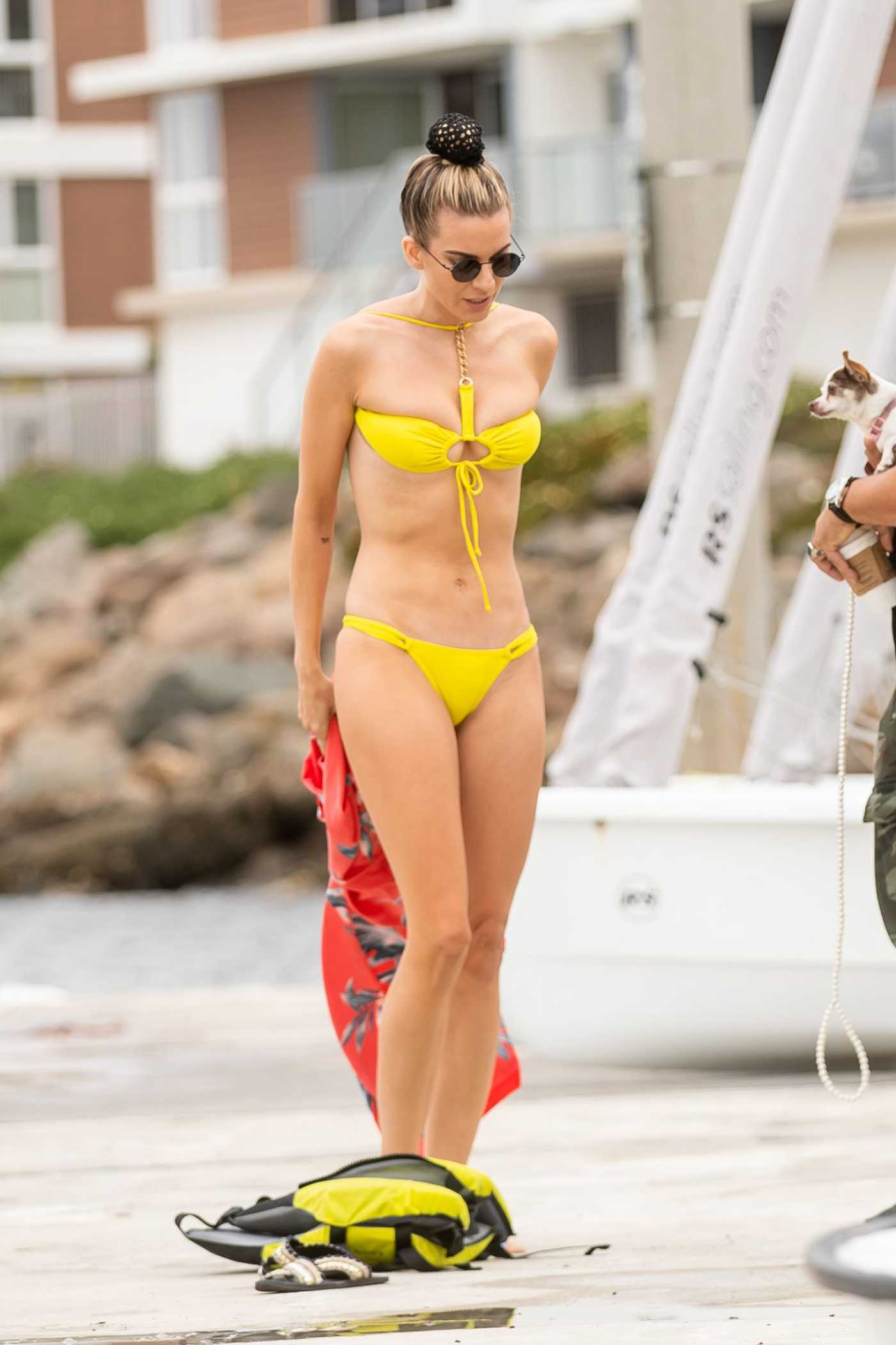 Rachel McCord in a Yellow Bikini on the Beach in Marina Del Rey 04/20/2019