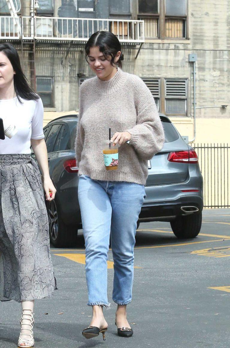 Selena Gomez in a Beige Sweater