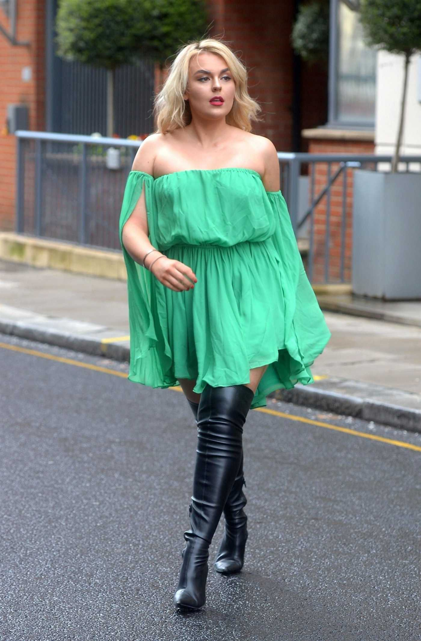Tallia Storm in a Short Green Dress Was Seen Out in London 04/02/2019