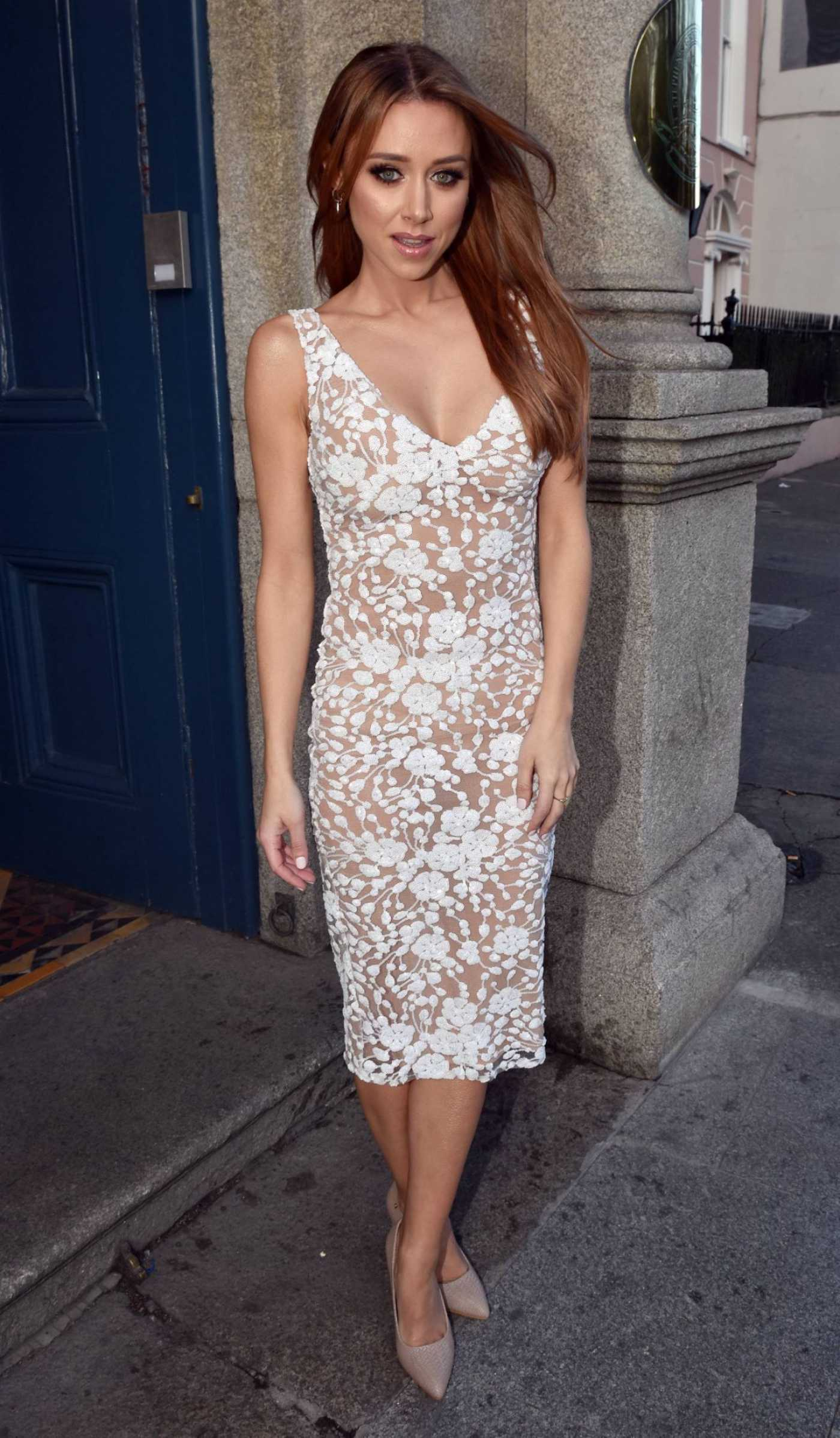 Una Healy in a See-Through Floral Dress Leaves the Hibernian Club in Dublin 04/02/2019