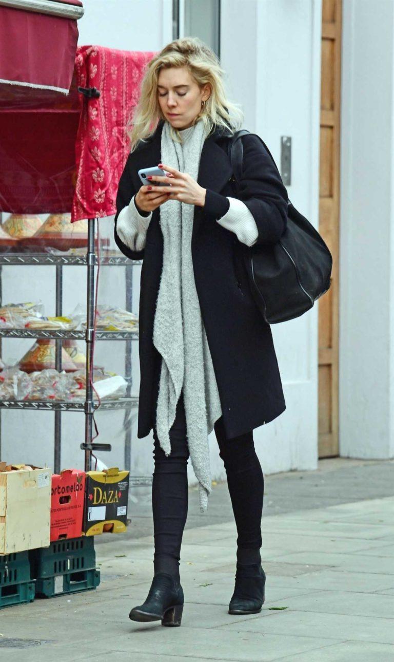 Vanessa Kirby in a Black Coat