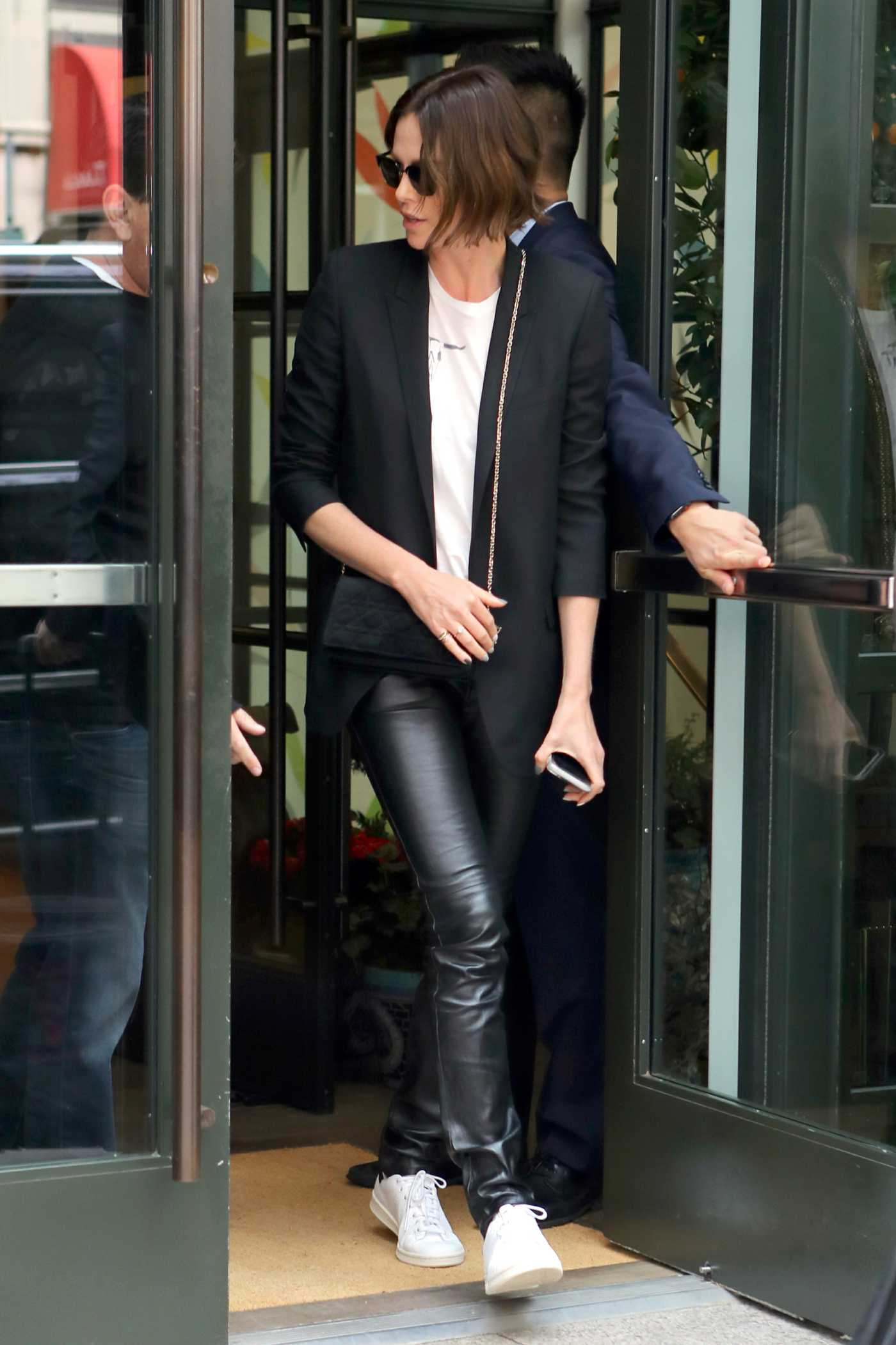 Charlize Theron in a Gray Blazer Leaves Her Hotel in New York 04/29/2019