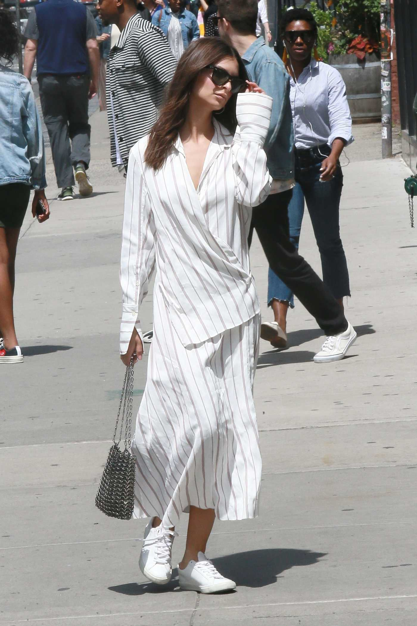 Emily Ratajkowski in a White Striped Dress Was Seen Out in New York 05/24/2019