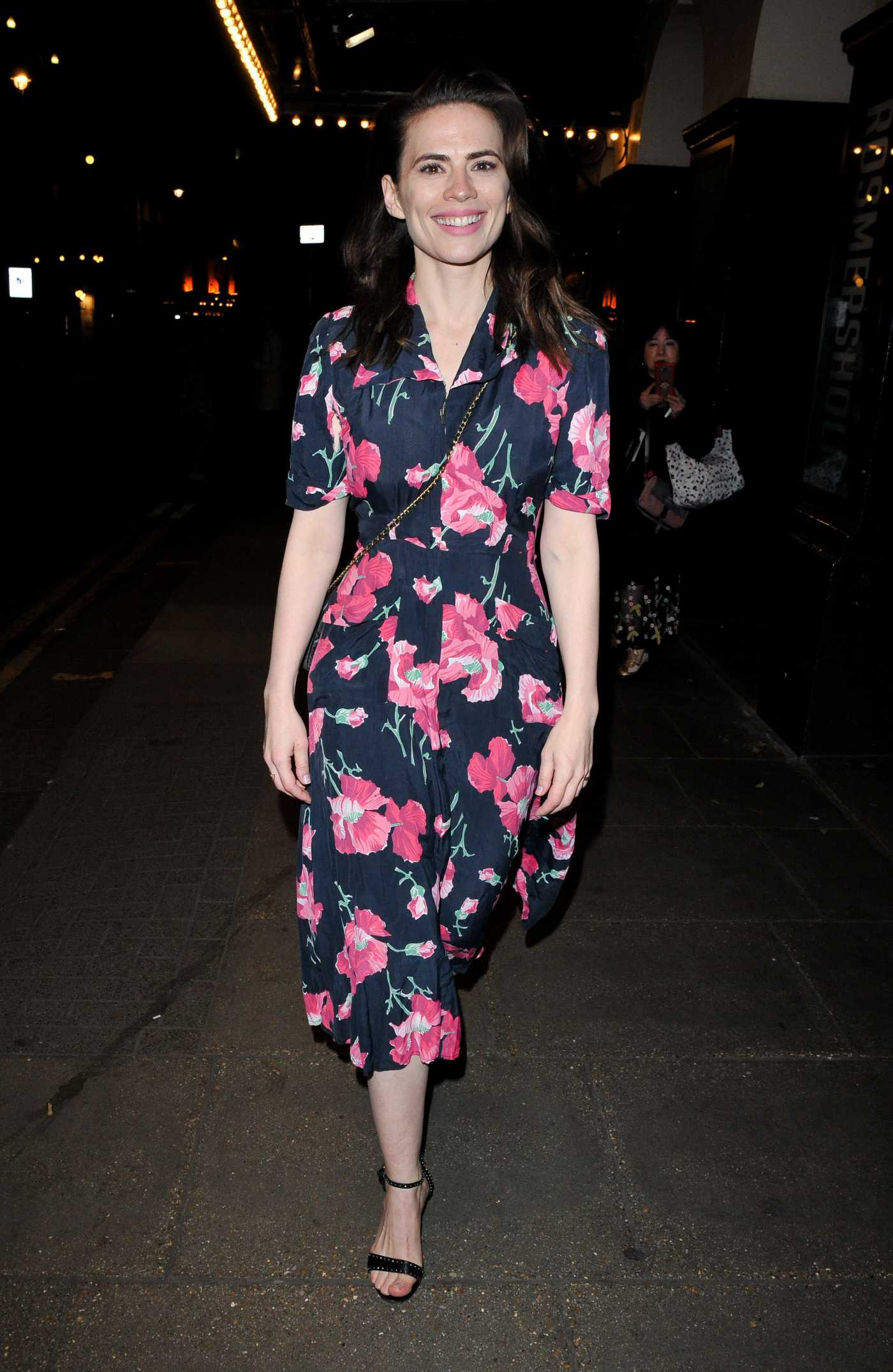 Hayley Atwell in a Floral Dress Was Seen Out in London 05/13/2019