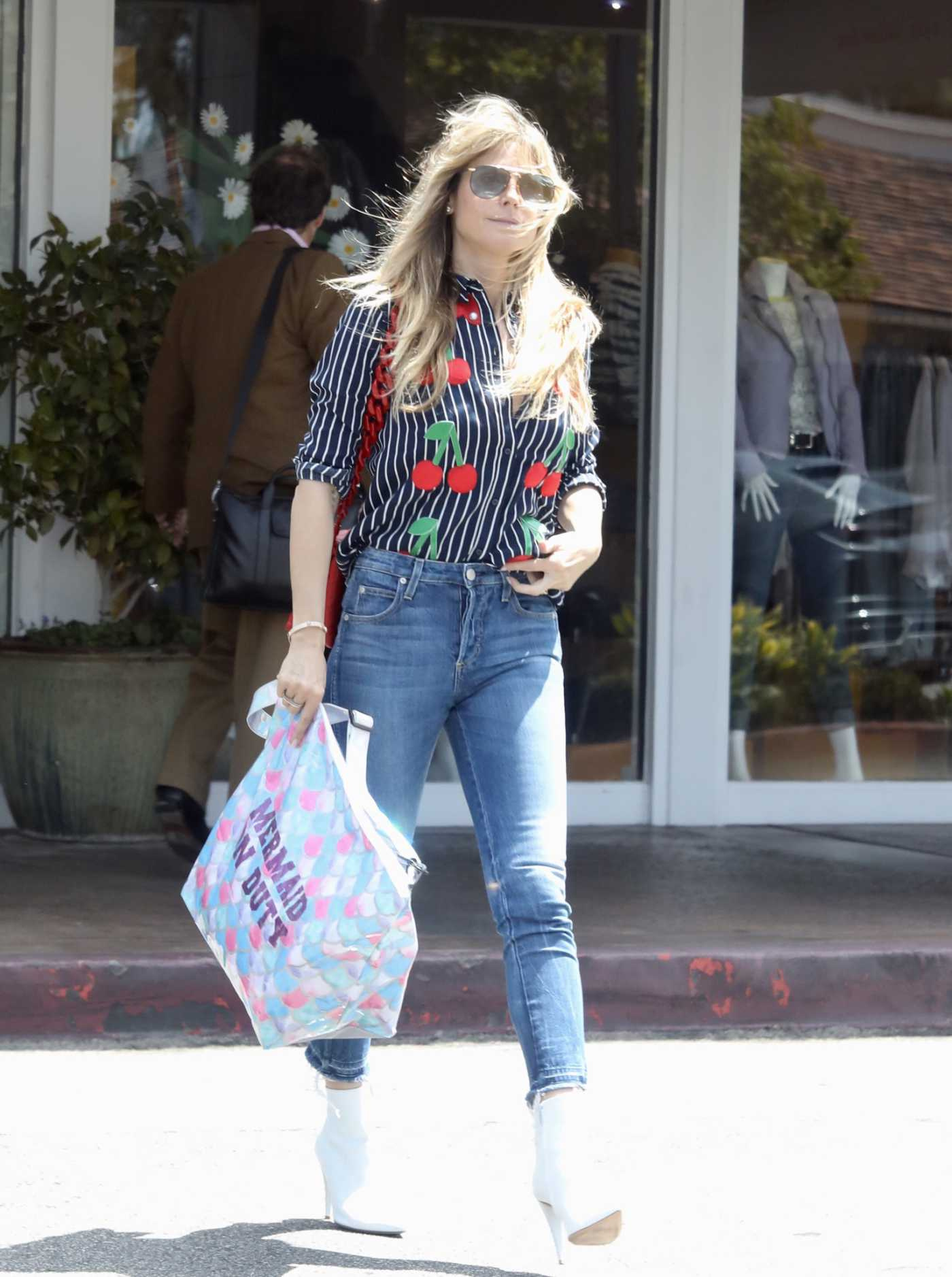 Heidi Klum in a Blue Striped Blouse Out Shopping in Beverly Hills 05/01/2019