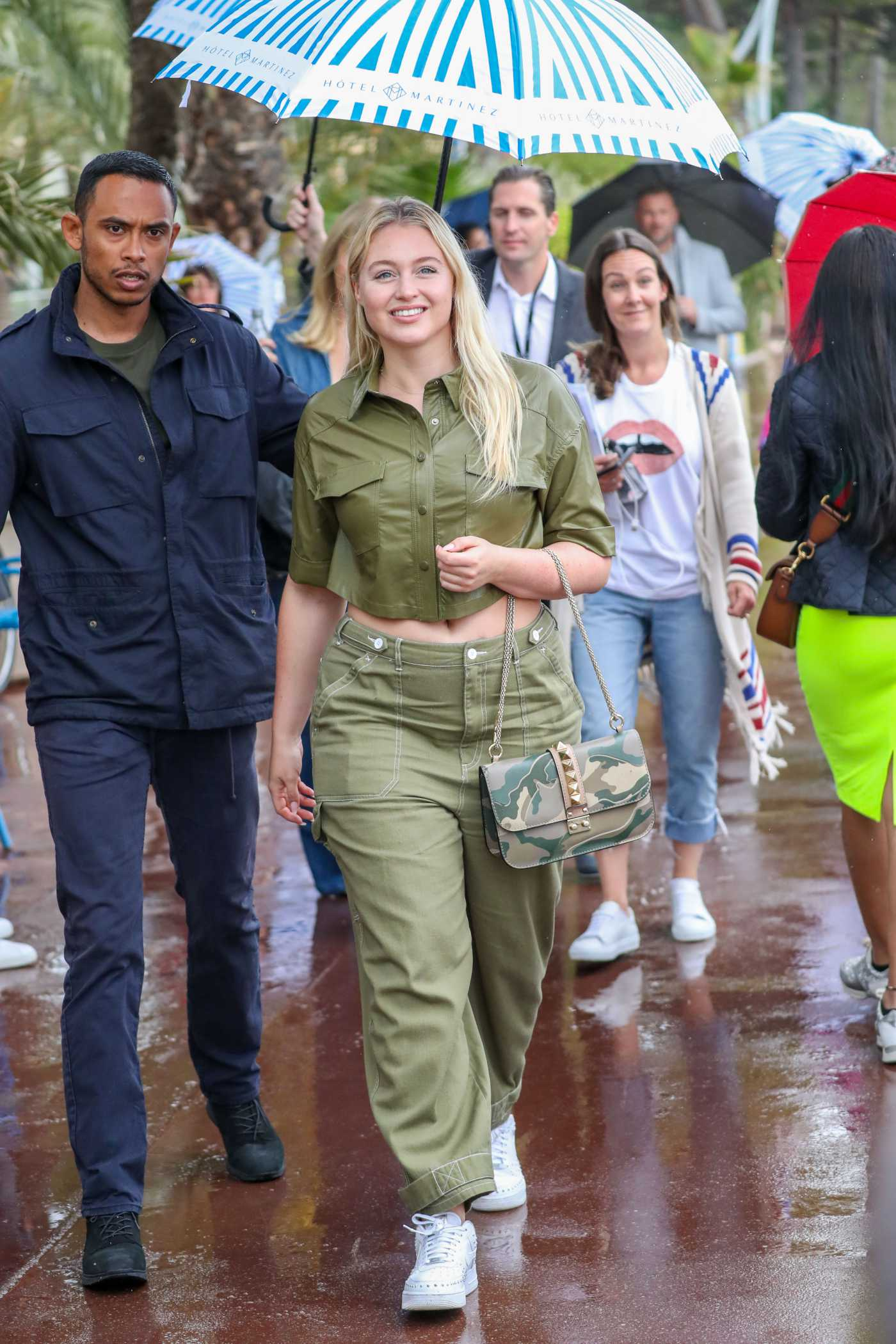 Iskra Lawrence in a Green Pants Was Seen on the Croisette During the 72nd Cannes Film Festival in Cannes 05/18/2019