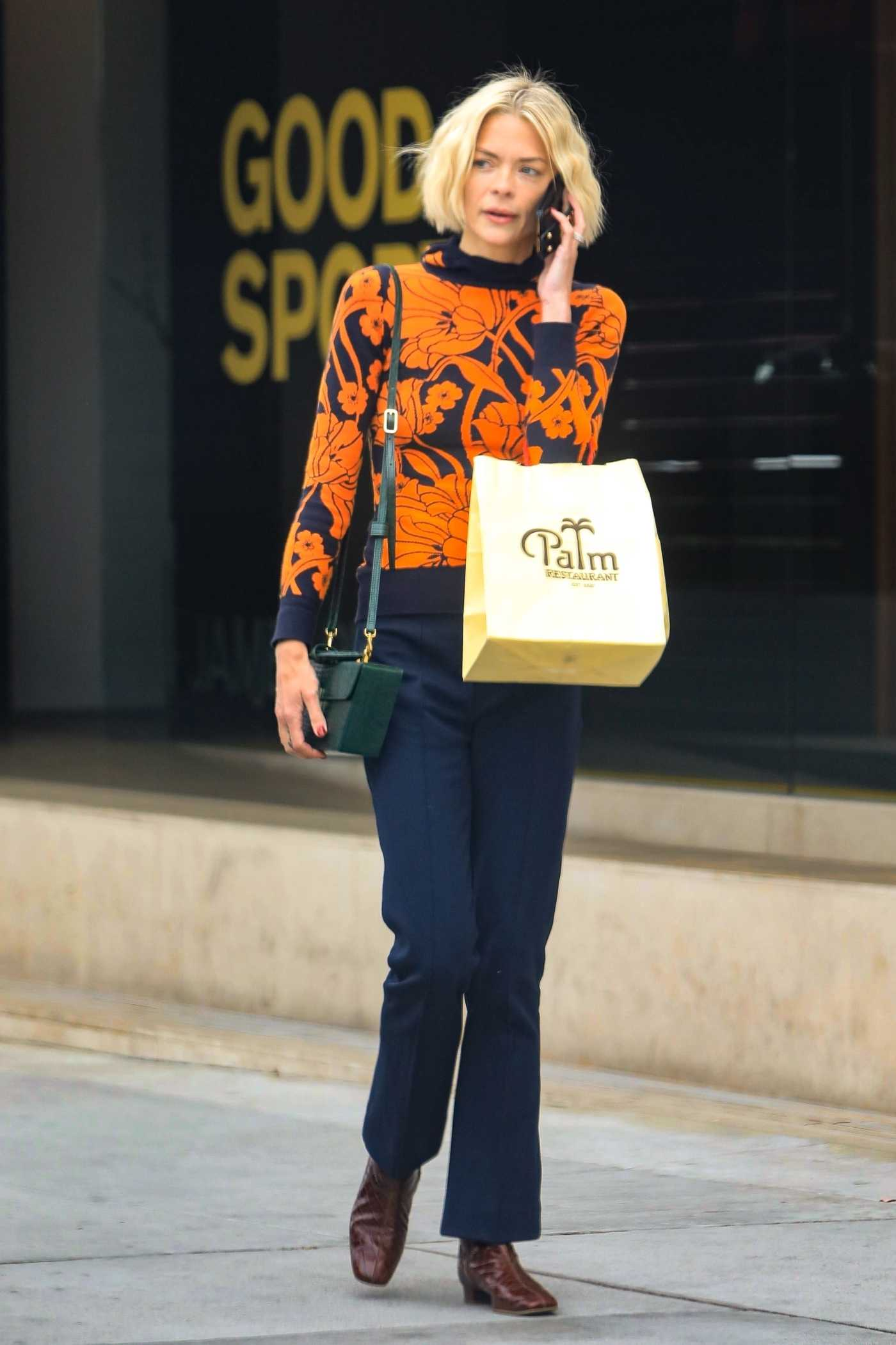 Jaime King in an Orange Sweater Leaves the Palm Restaurant in Beverly Hills 05/08/2019
