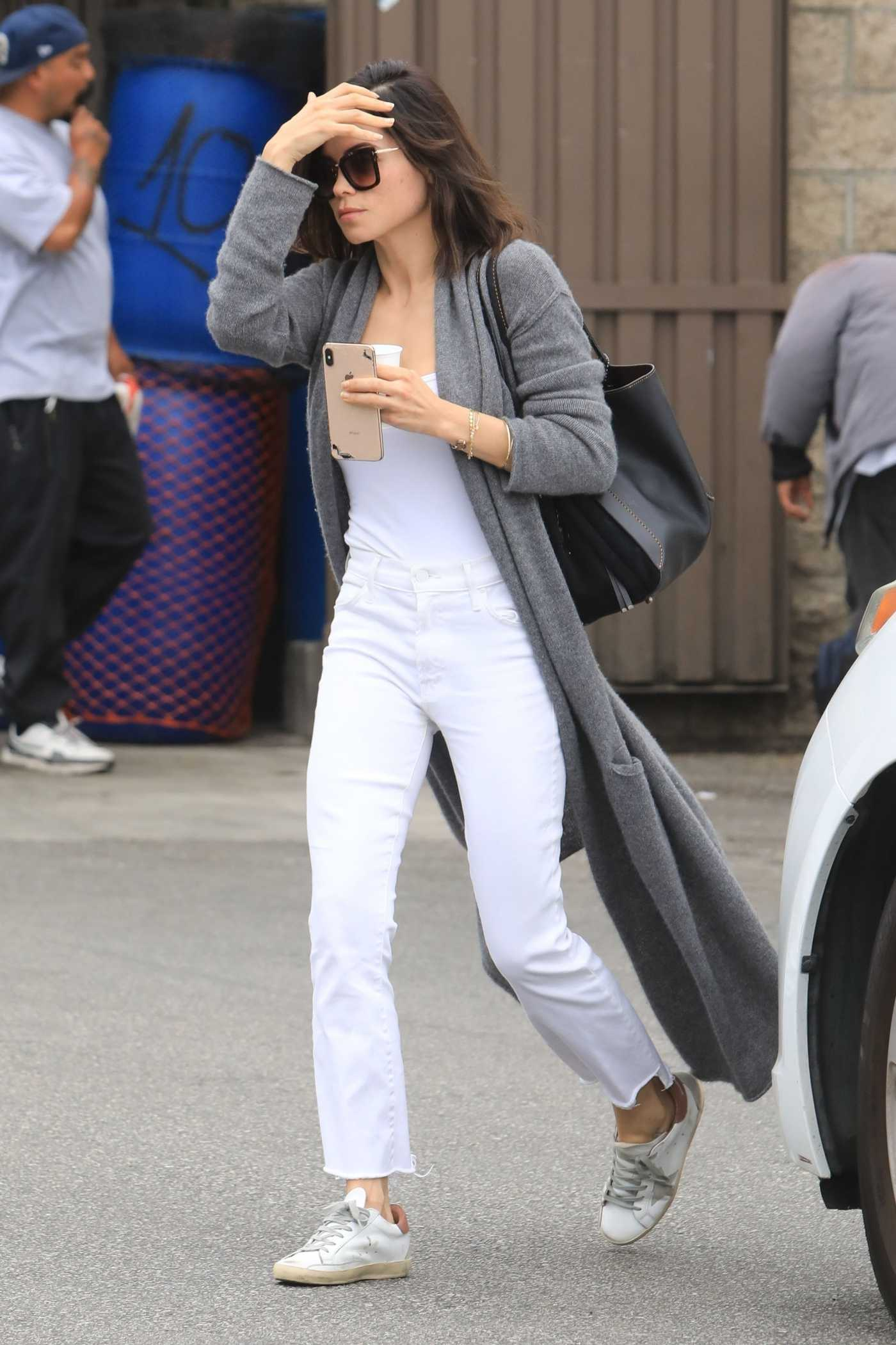 Jenna Dewan in a Gray Cardigan Leaves Skin Thesis in West Hollywood 05/08/2019