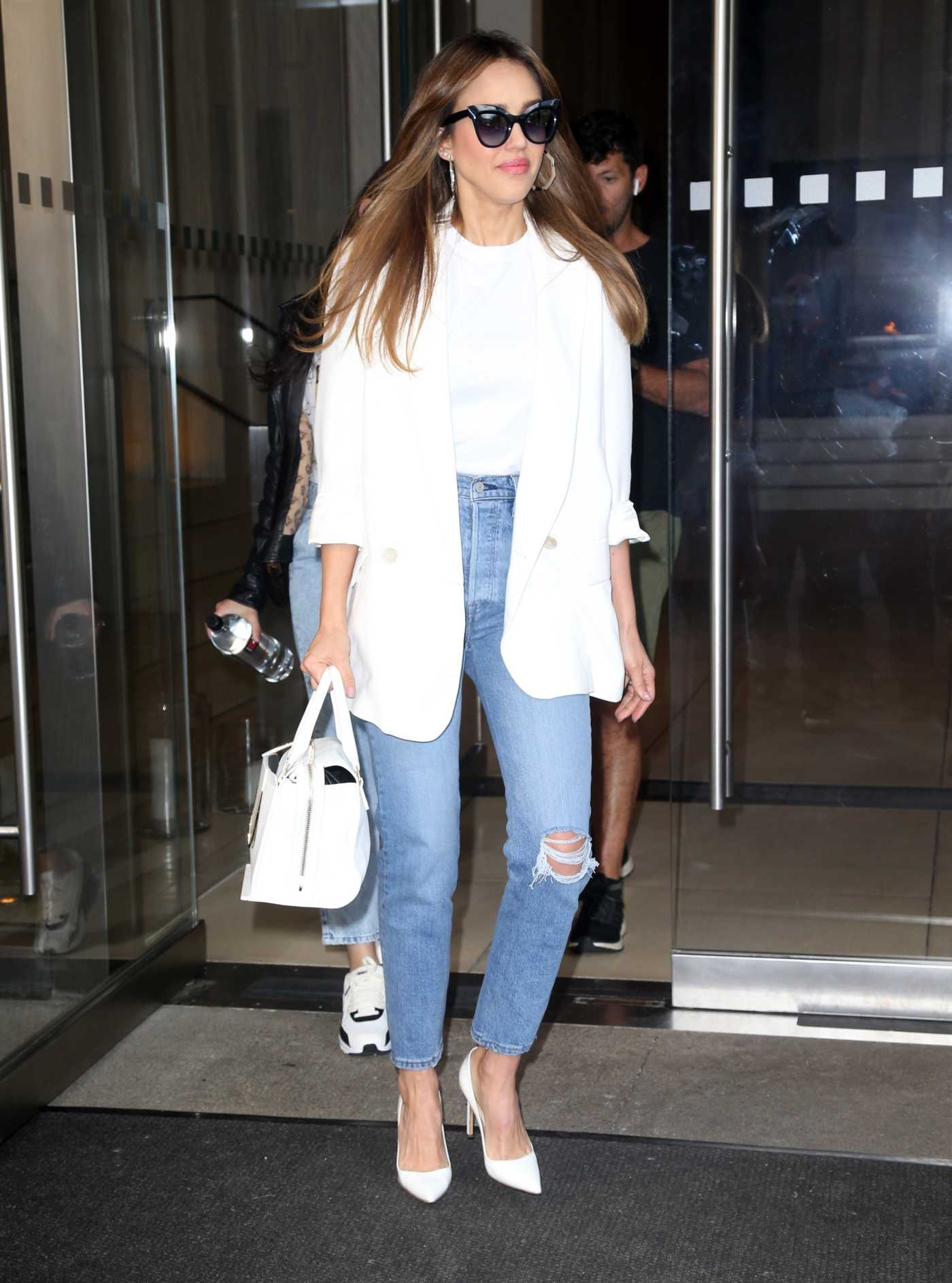 Jessica Alba in a White Blazer Leaves an office Building in New York City 05/16/2019