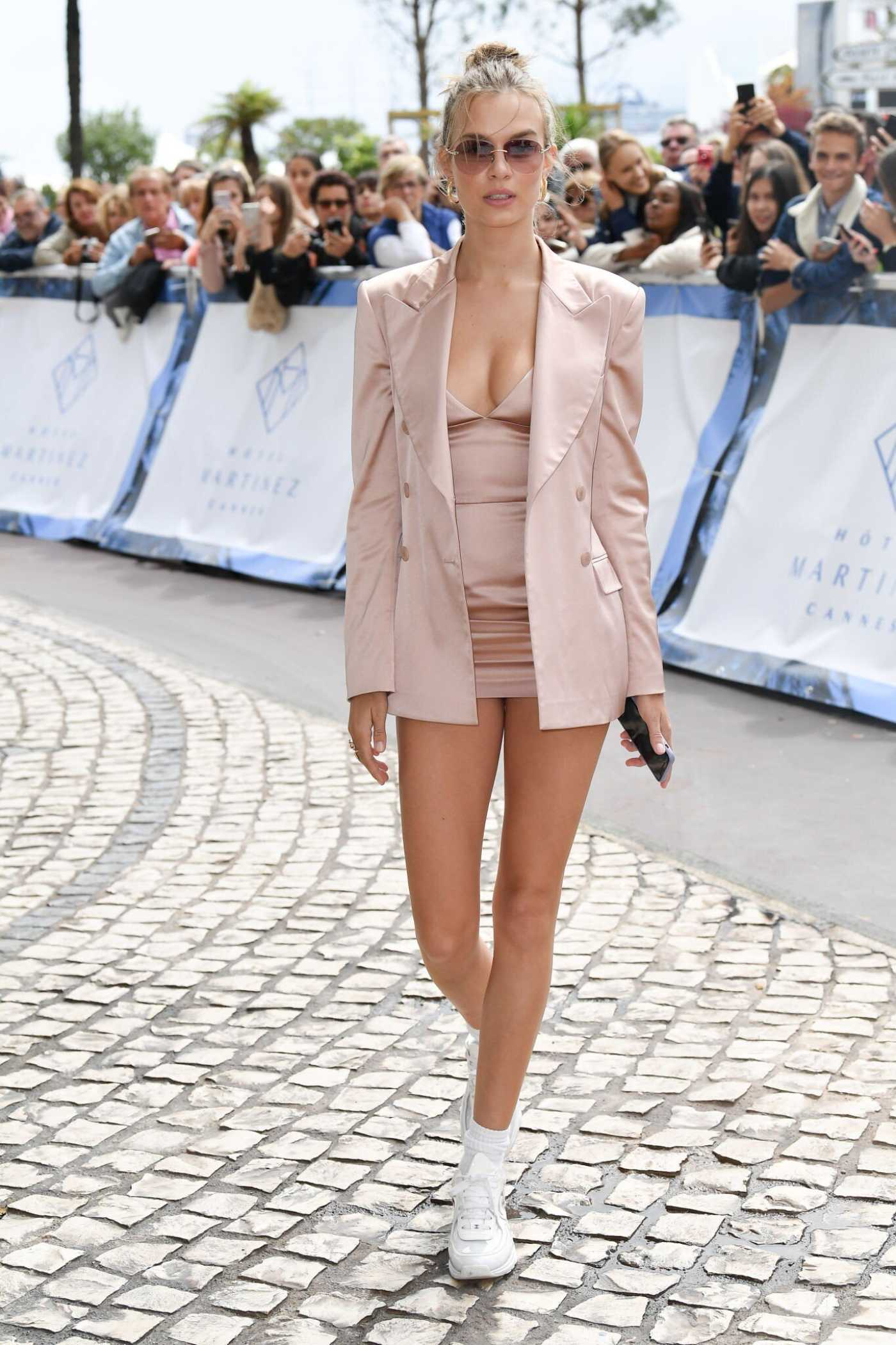 Josephine Skriver in a Beige Blazer Arrives at Her Hotel in Cannes 05/19/2019