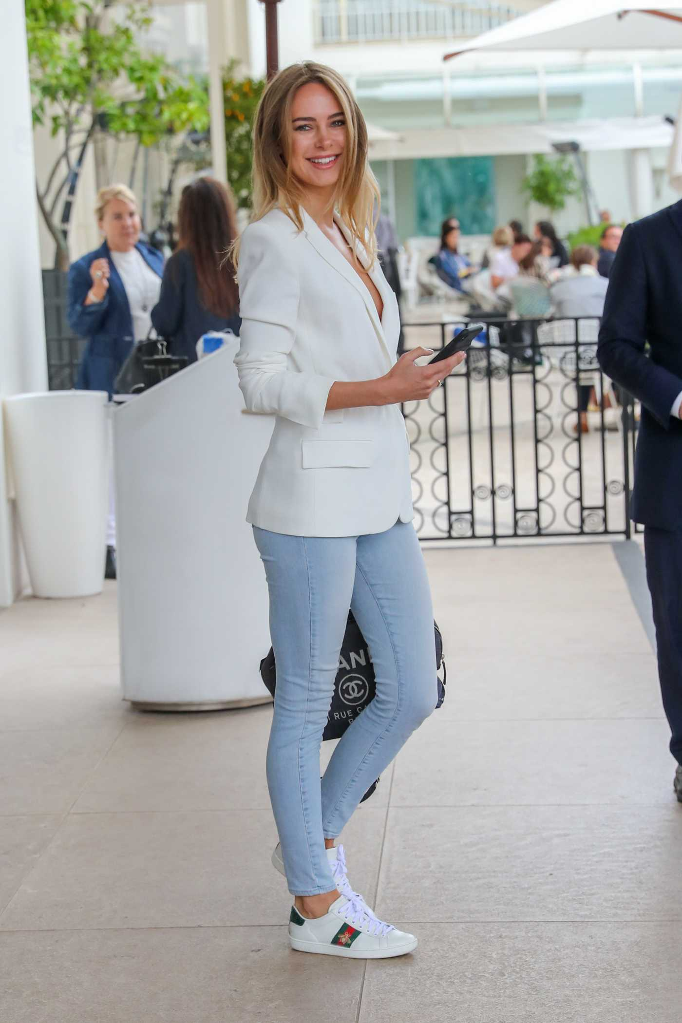 Kimberley Garner in a White Blazer Leaves the Martinez Hotel During the 72nd Annual Cannes Film Festival in Cannes 05/21/2019
