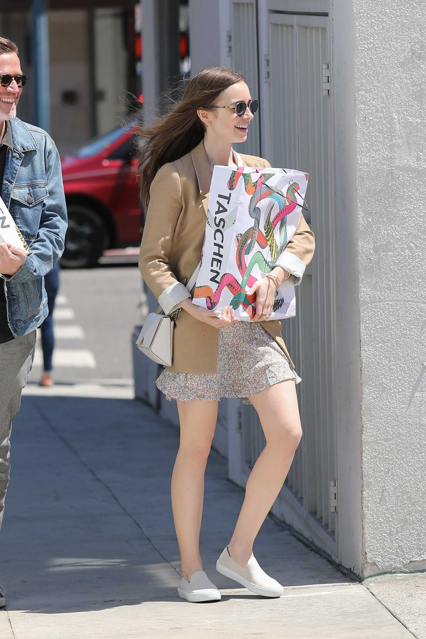 Lily Collins in a Beige Blazer Goes Shopping with a Friend in Beverly Hills 05/17/2019