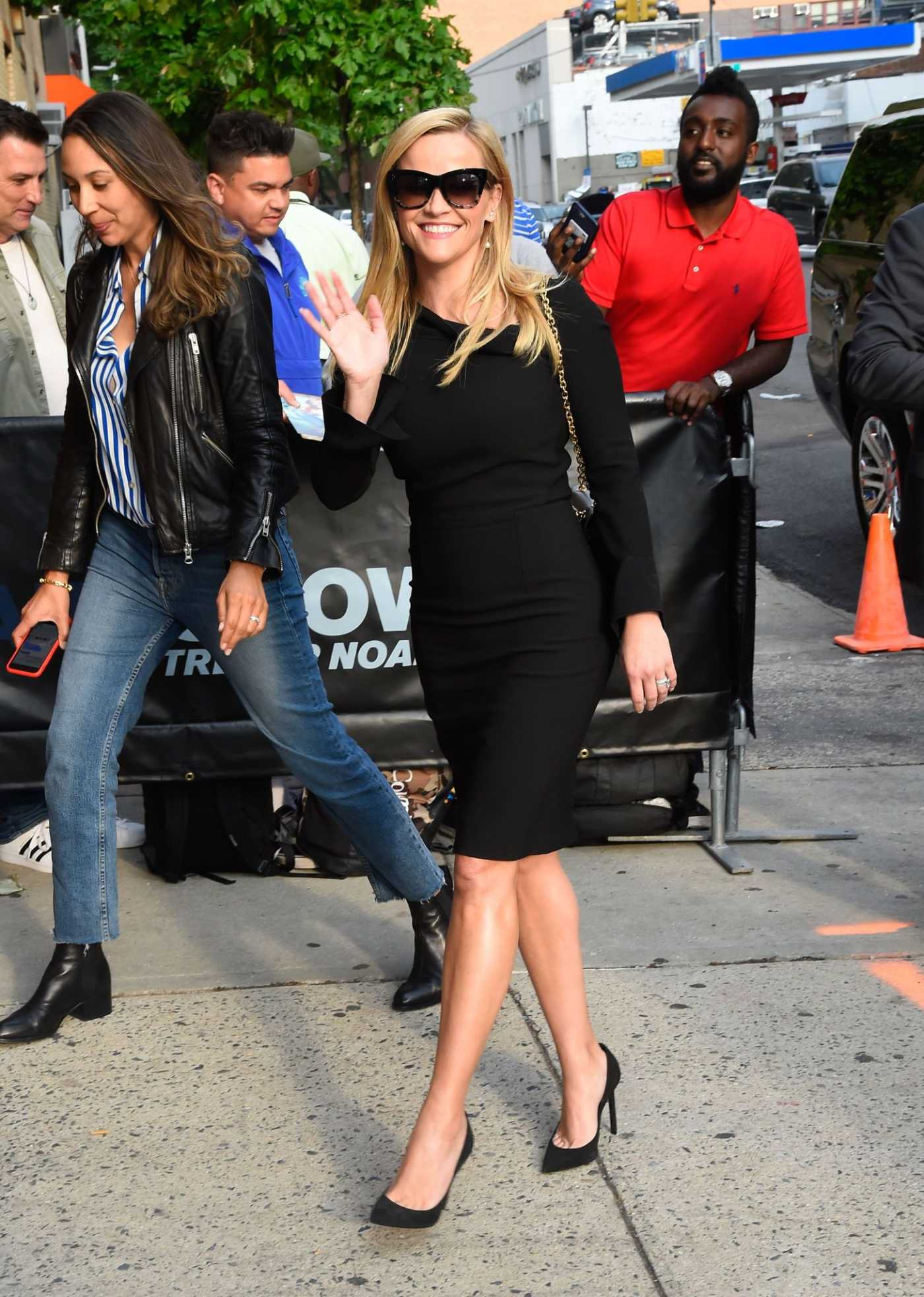 Reese Witherspoon in a Black Dress Arrives at The Daily Show with Trevor Noah in NYC 05/28/2019