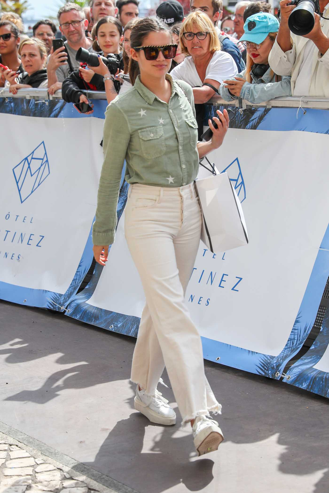 Sara Sampaio in a White Jeans Was Seen During the 72nd Annual Cannes Film Festival in Cannes 05/22/2019