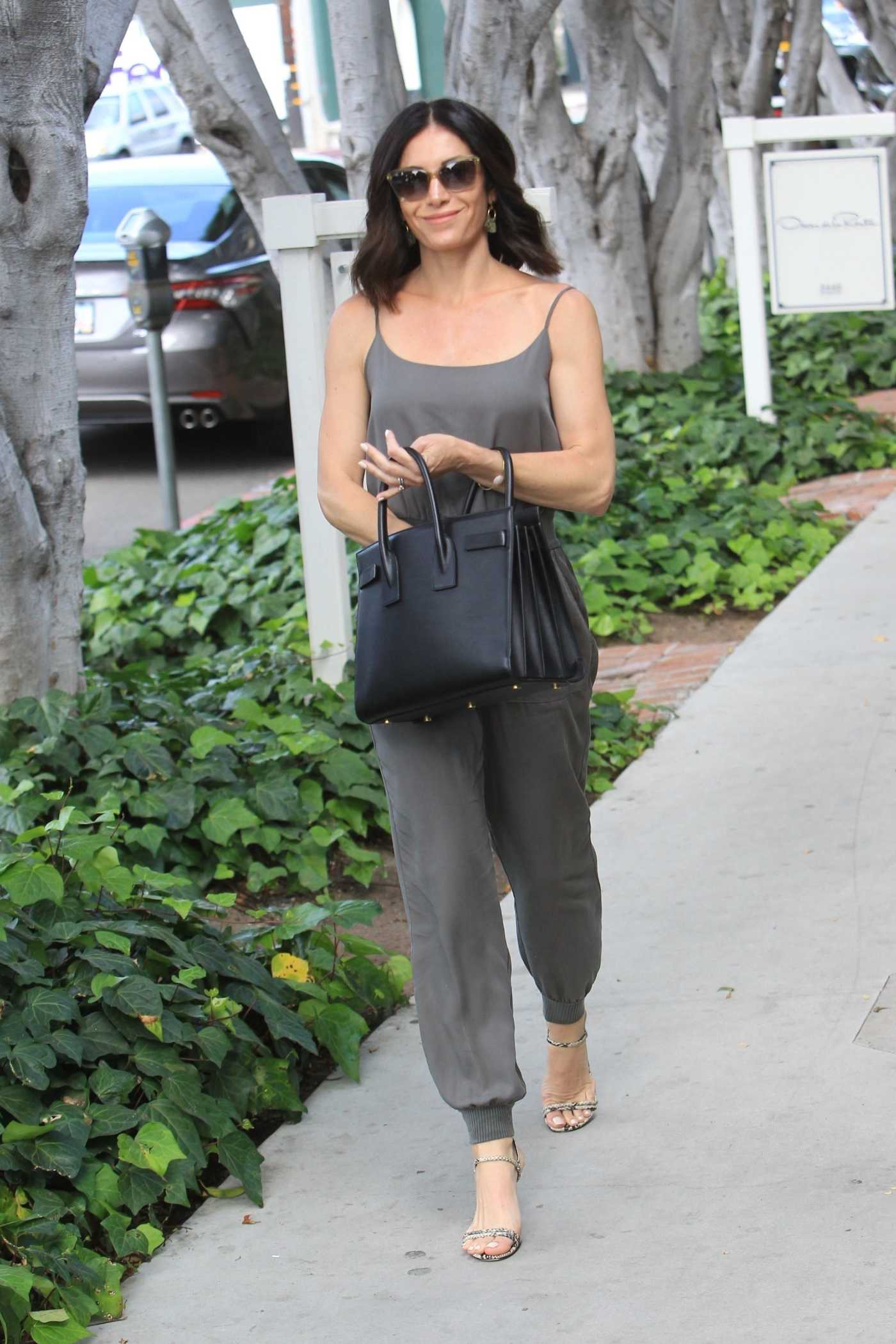 Abigail Spencer in a Gray Top Goes Shopping on Melrose Place in Hollywood 06/26/2019