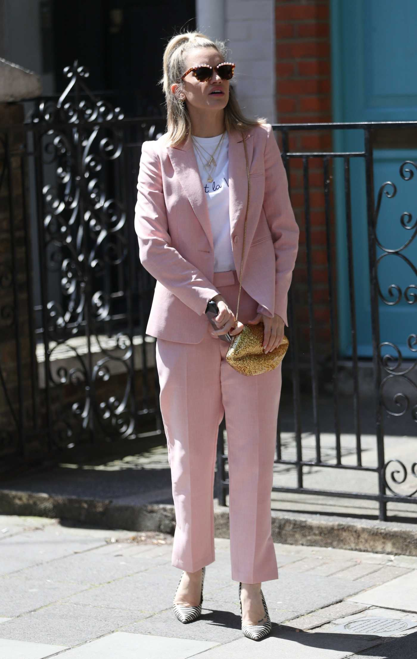 Ashley Roberts in a PInk Suit Leaves BBC's Saturday Kitchen TV Show in London 06/22/2019