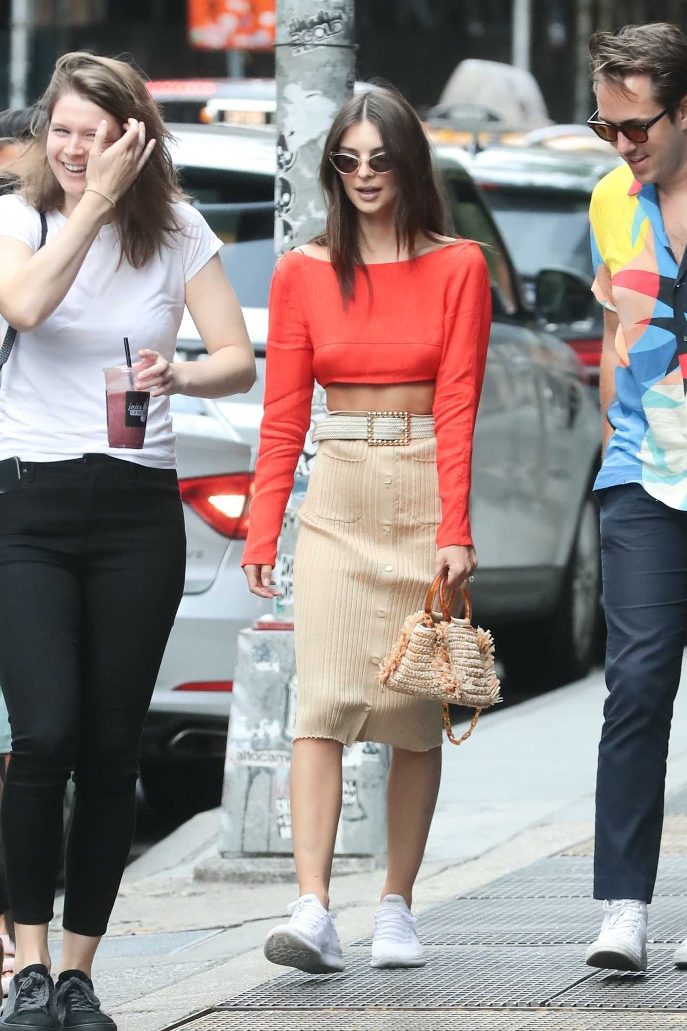 Emily Ratajkowski in a Red Blouse Was Seen Out in New York City 06/01/2019