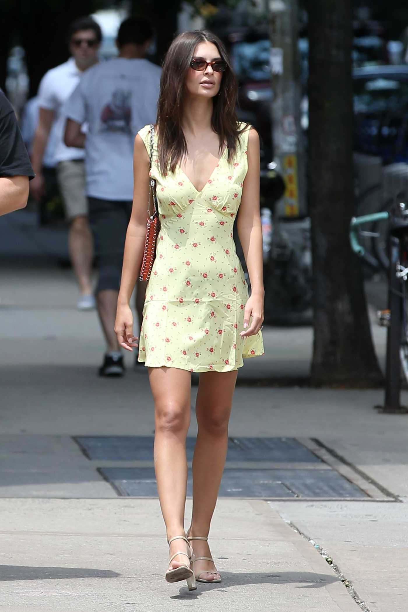 Emily Ratajkowski in a Yellow Dress Was Seen Out in New York City 06/22/2019