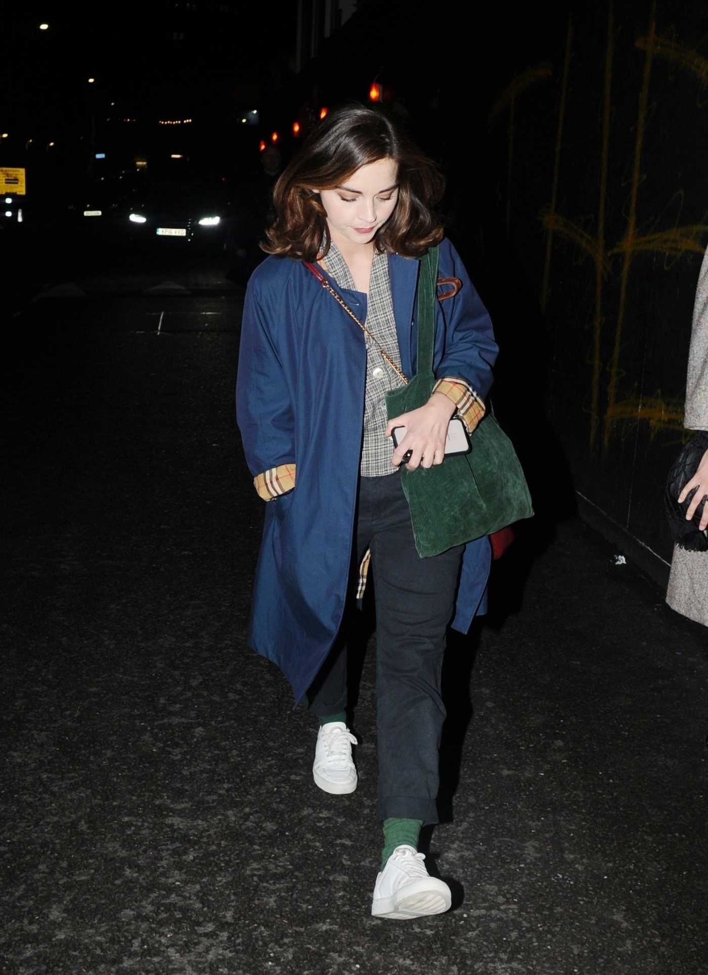 Jenna Coleman in a Blue Trench Coat Leaves the Old Vic Theatre in London 06/08/2019