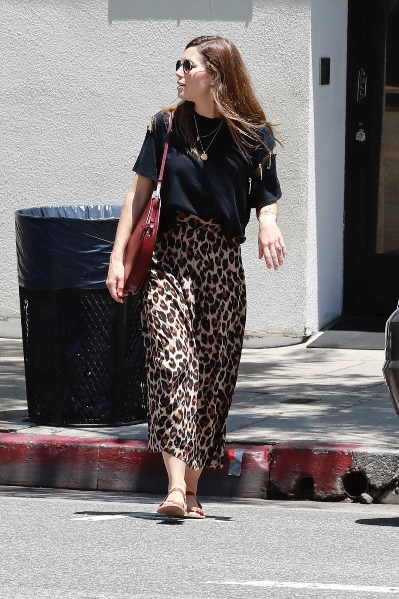 Jessica Biel in a Leopard Print Skirt Was Seen Out in Los Angeles 06/10/2019