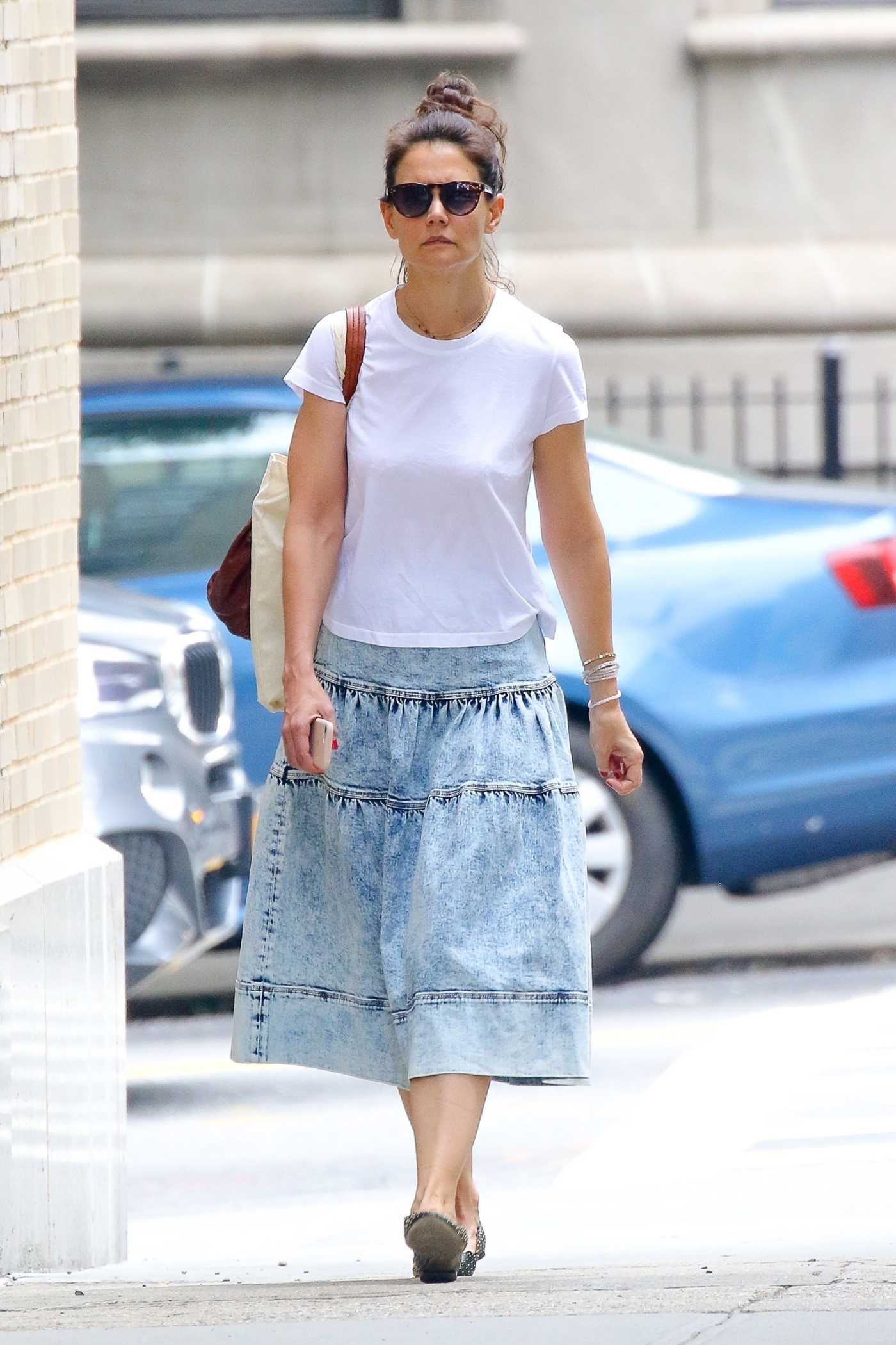 Katie Holmes in a White Tee Was Seen Out in NYC 06/14/2019