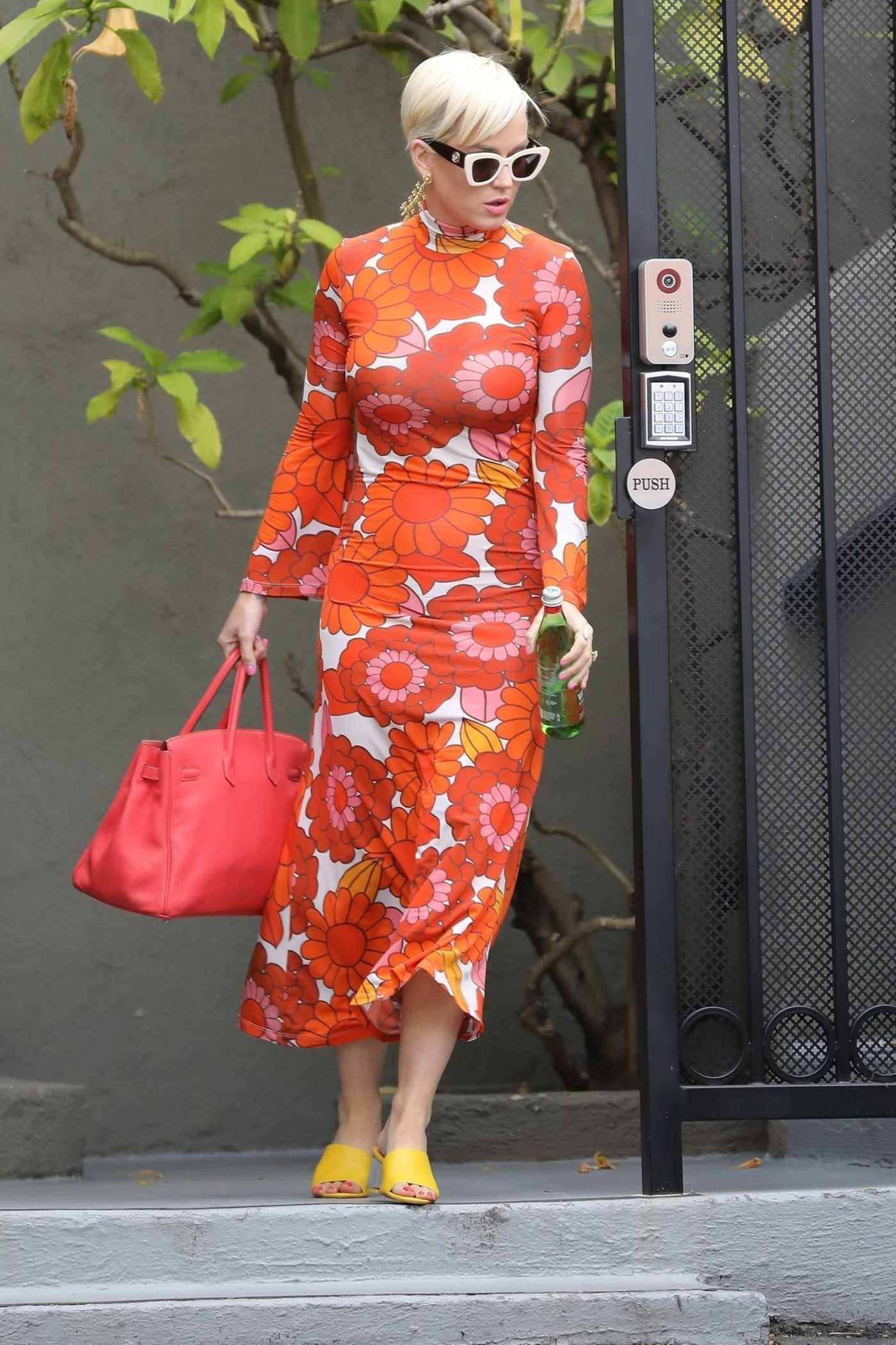 Katy Perry in a Red Floral Dress Was Seen Out in Los Angeles 06/03/2019