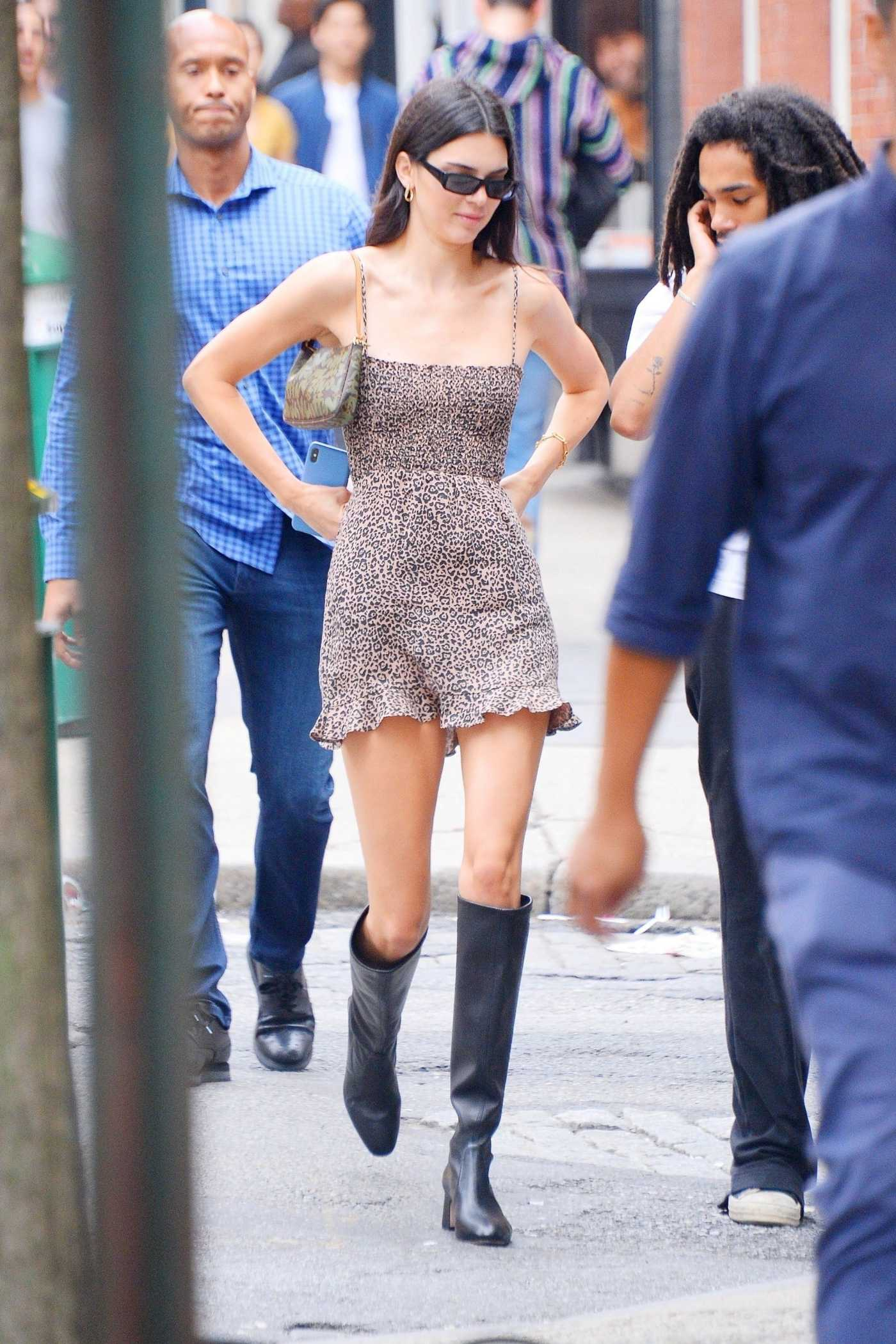 Kendall Jenner in a Beige Leopard Print Dress Was Seen Out with Luka Sabbat in NYC 06/19/2019