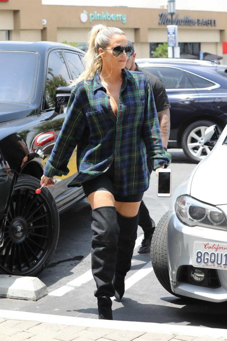 Khloe Kardashian in a Plaid Shirt