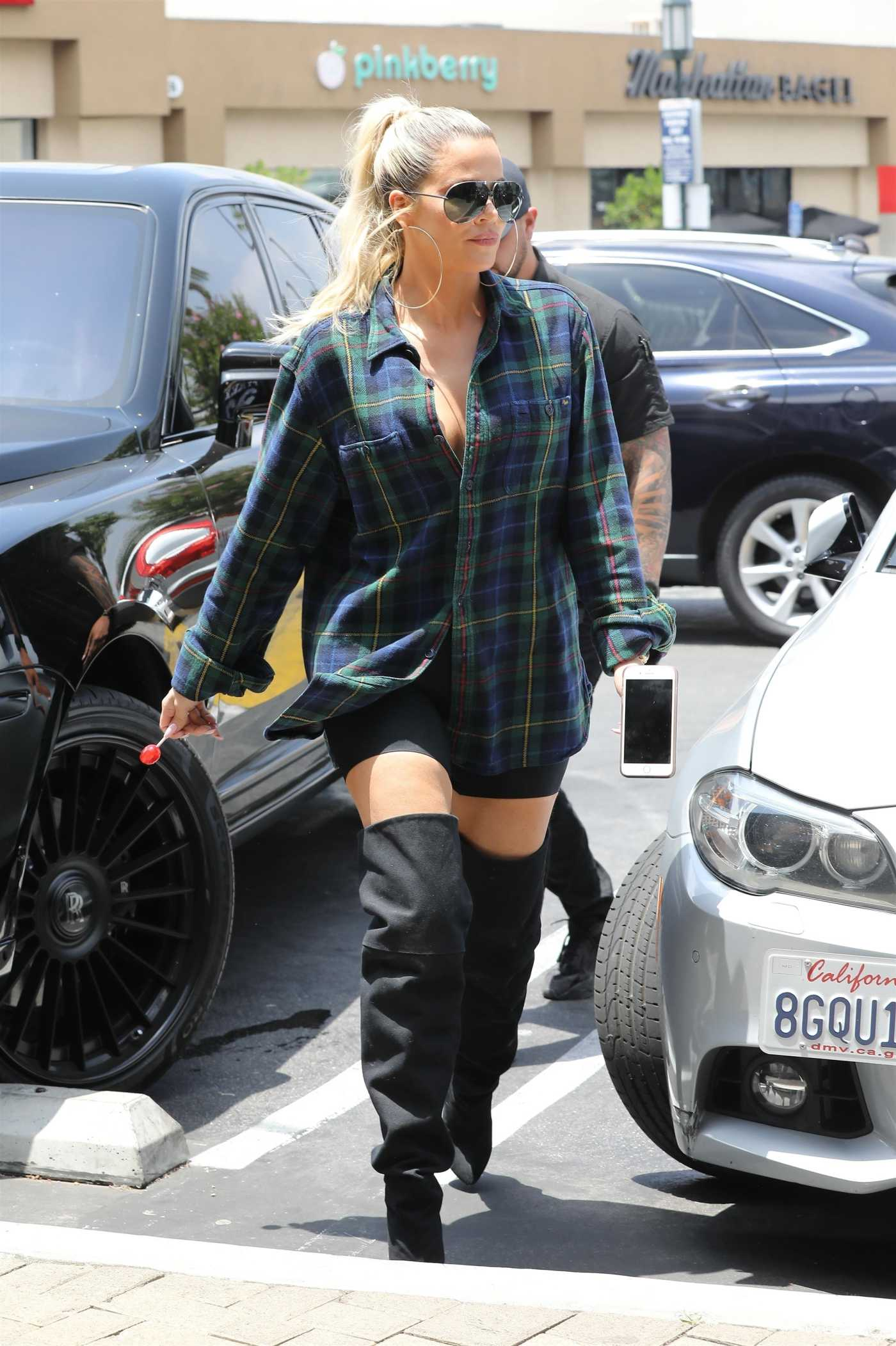 Khloe Kardashian in a Plaid Shirt Was Seen Out in Studio City 06/26/2019