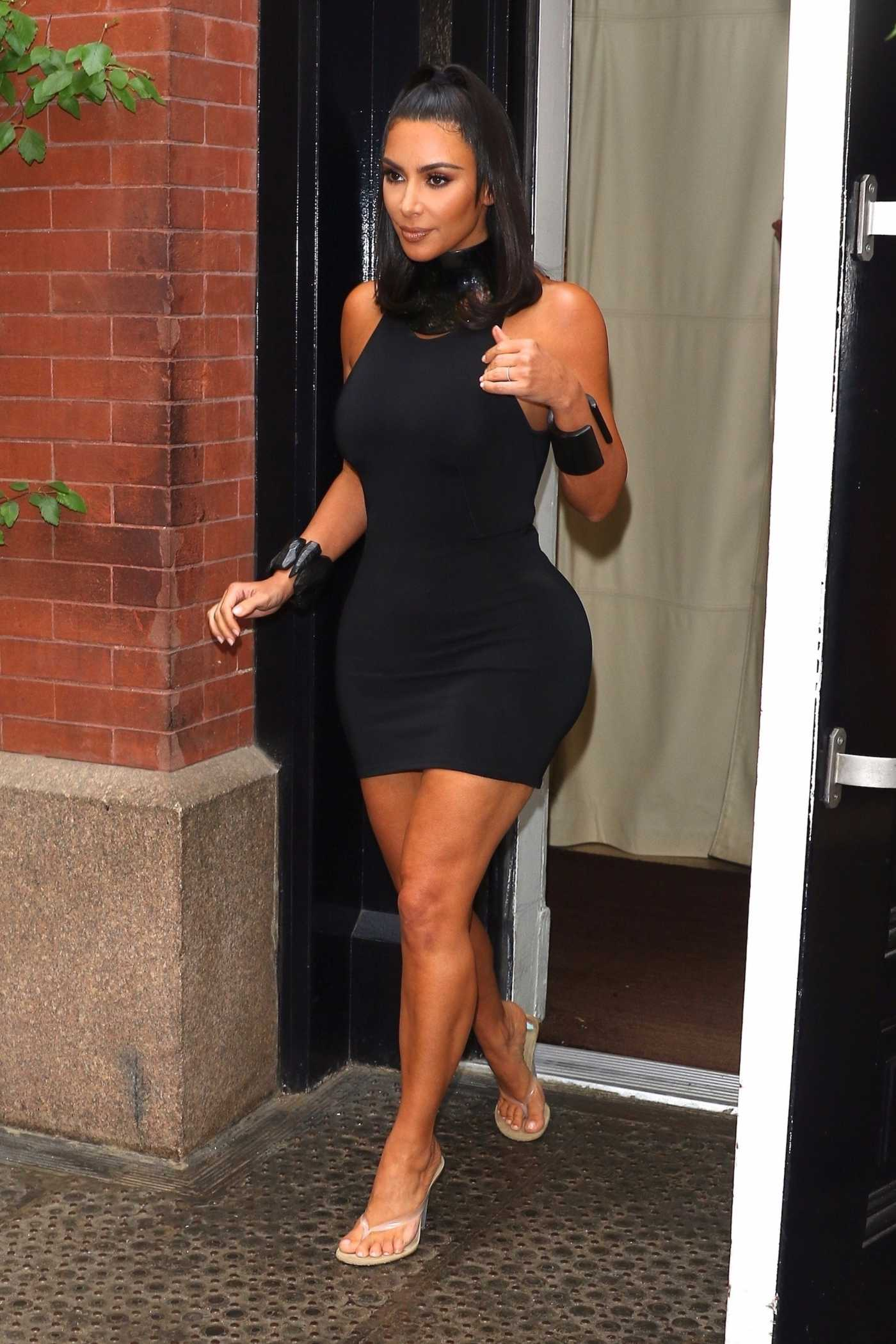 Kim Kardashian in a Black Form Fitting Dress Was Seen Out in New York City 06/25/2019
