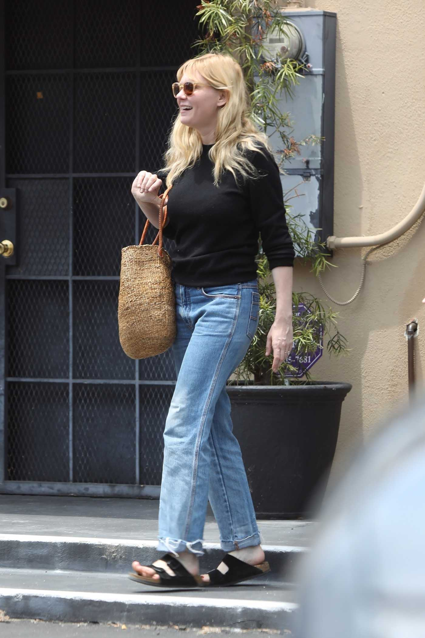 Kirsten Dunst in a Blue Jeans Leaves Lakeside Nail Spa in Toluca Lake 06/14/2019