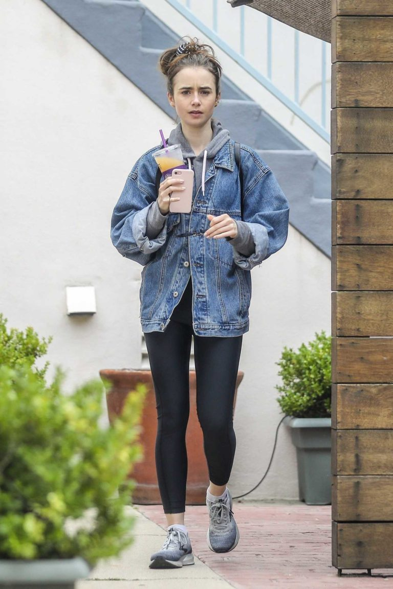 Lily Collins in a Blue Denim Jacket