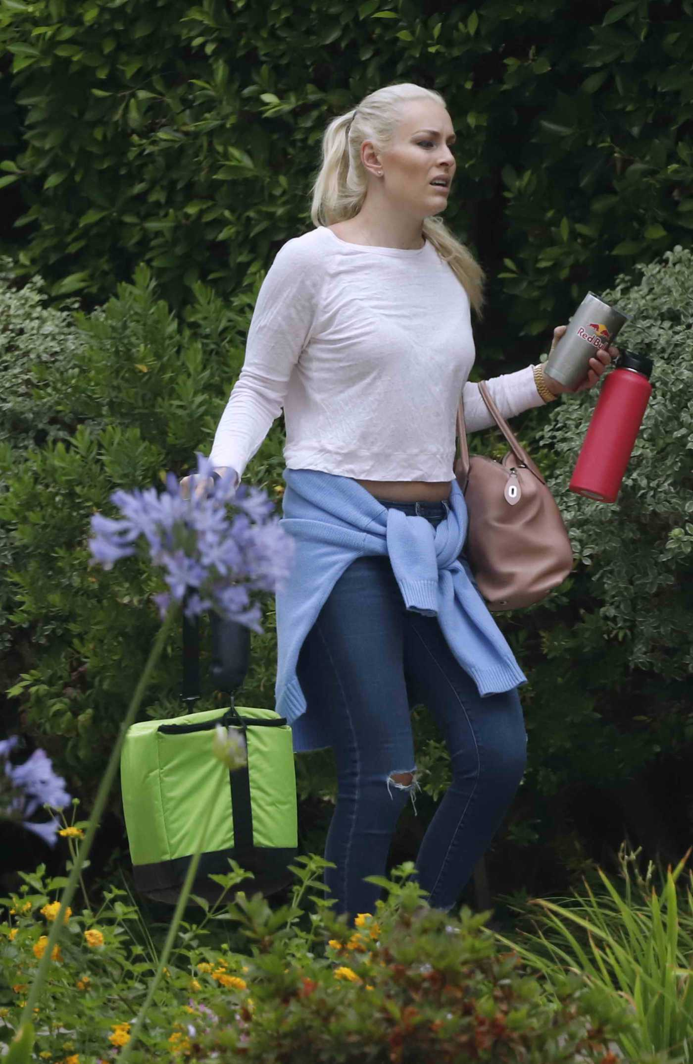 Lindsey Vonn in a White Long Sleeves T-Shirt Was Seen Out in Los Angeles 06/17/2019