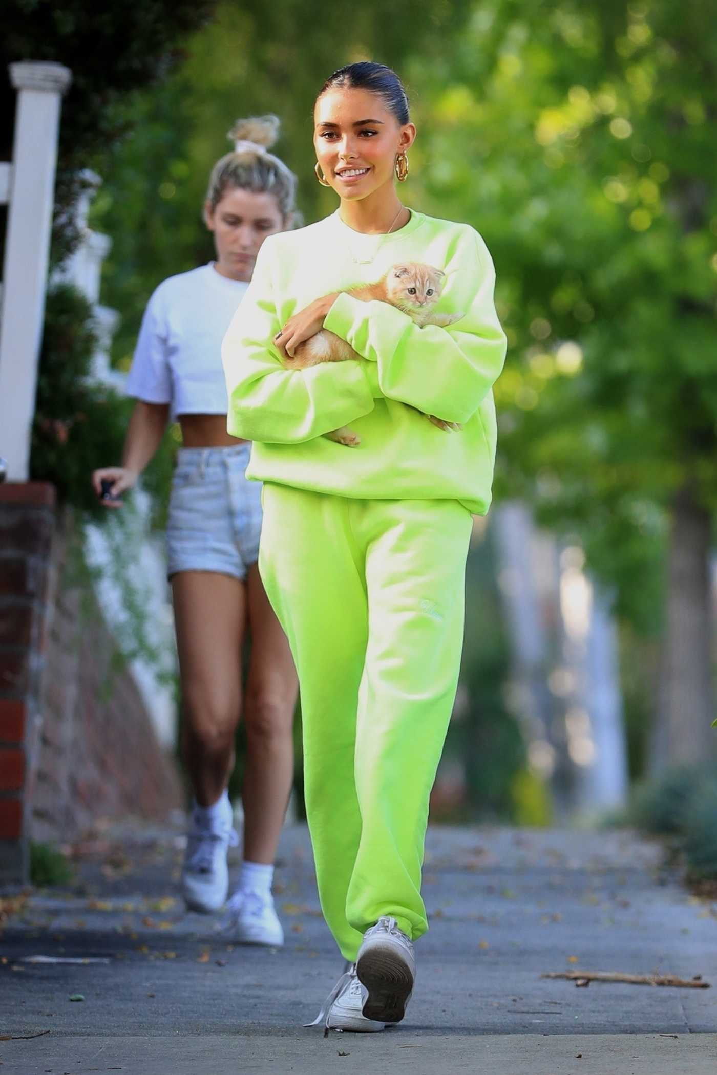 Madison Beer in a Neon Green Sweat Suit Was Spotted Out with her New Kitten Rex in West Hollywood 06/16/2019