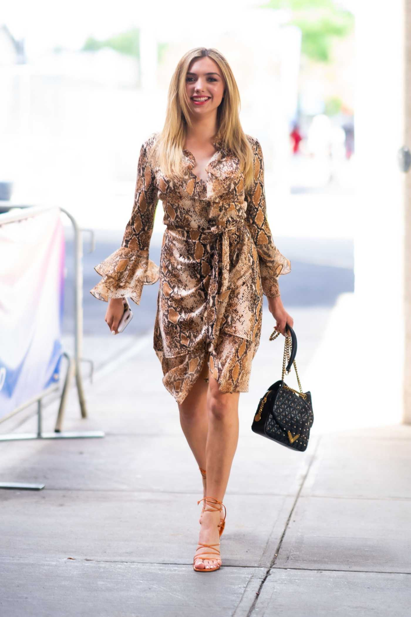 Peyton List in a Snakeskin Dress Attends 2019 POPSUGAR Play/Ground at Pier 94 in Midtown in New York City 06/22/2019