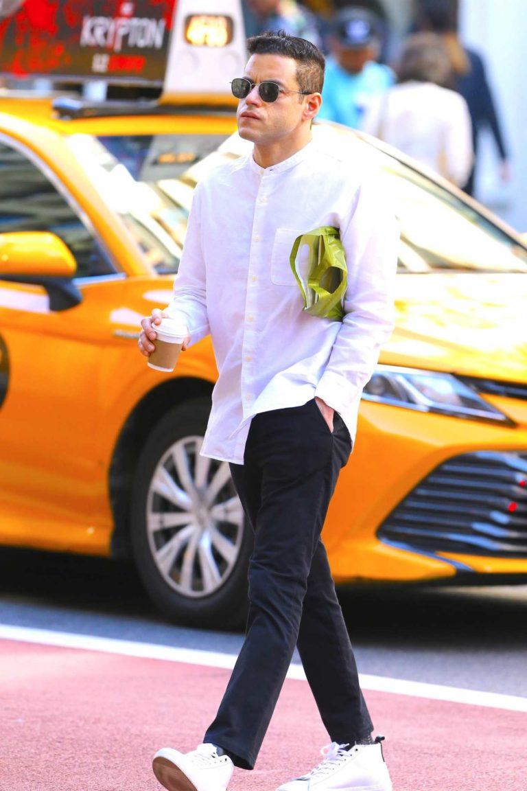 Rami Malek in a White Shirt