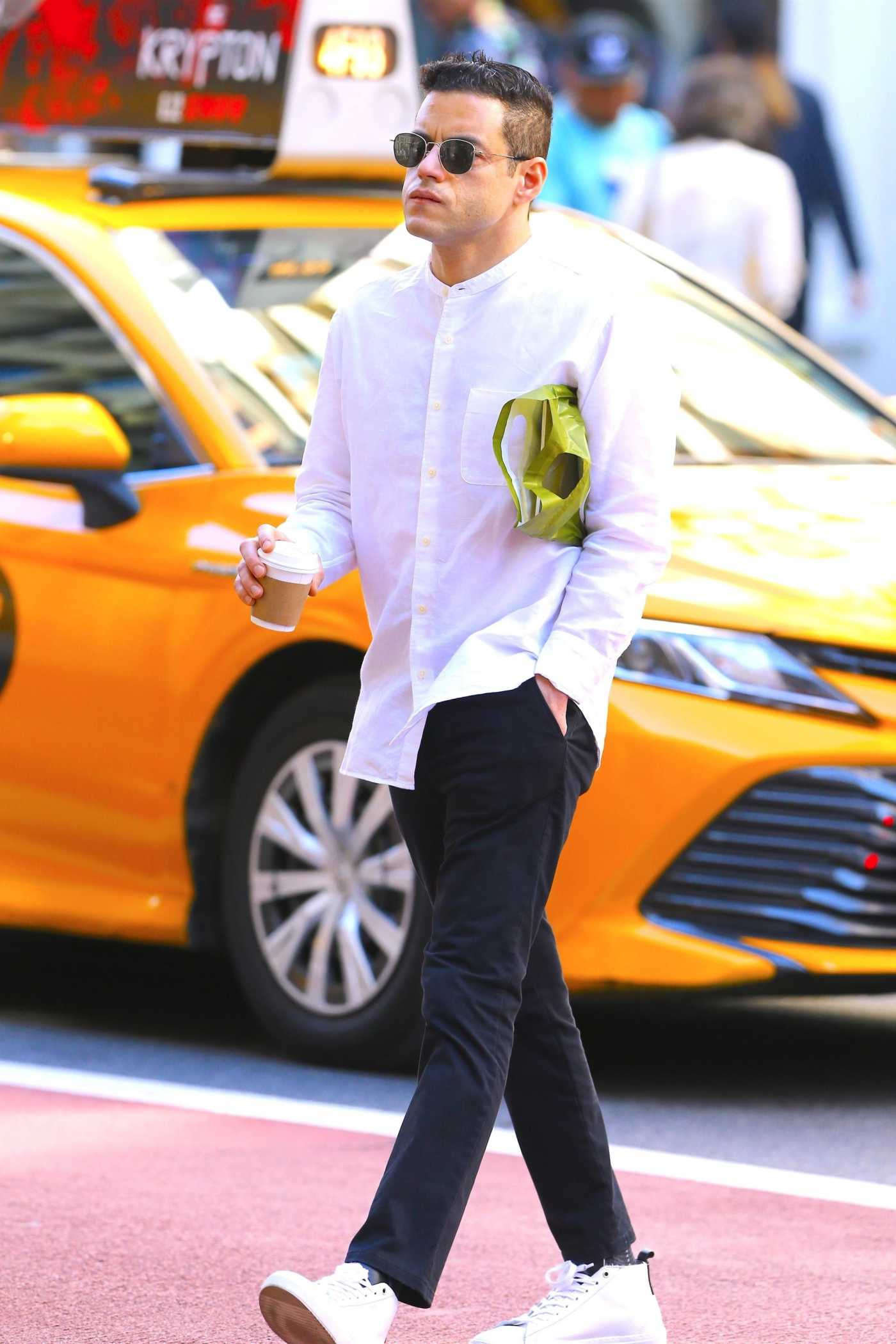 Rami Malek in a White Shirt Was Seen Out with Lucy Boynton in Soho, New York 06/03/2019